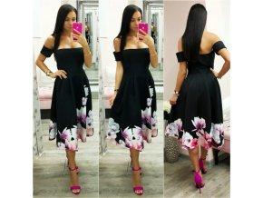 Čierne áčkové midi šaty s kvetinami
