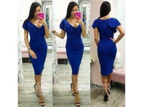 Modré midi šaty s volánikom