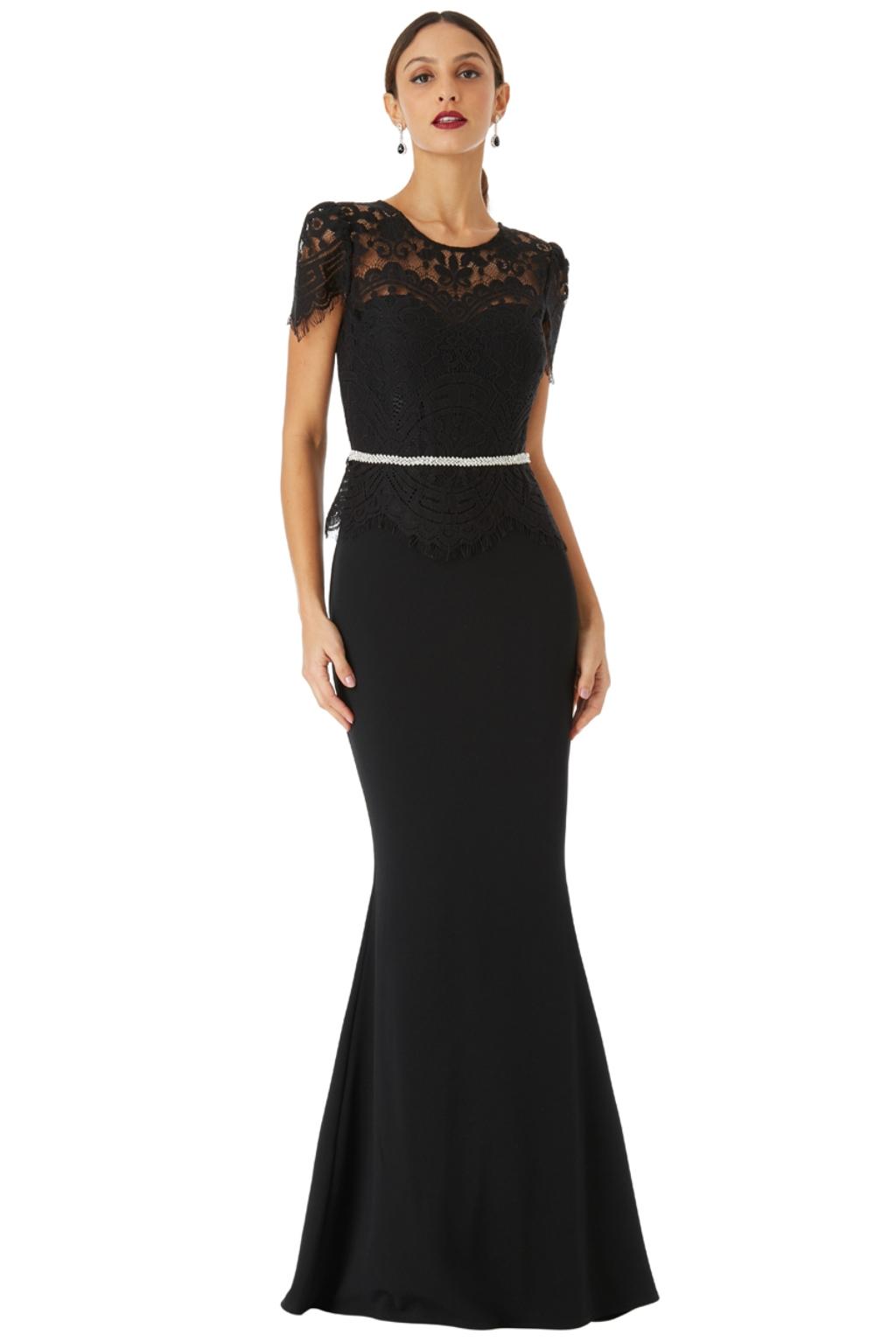 Čierne spoločenské šaty s krajkou Veľkosť: L