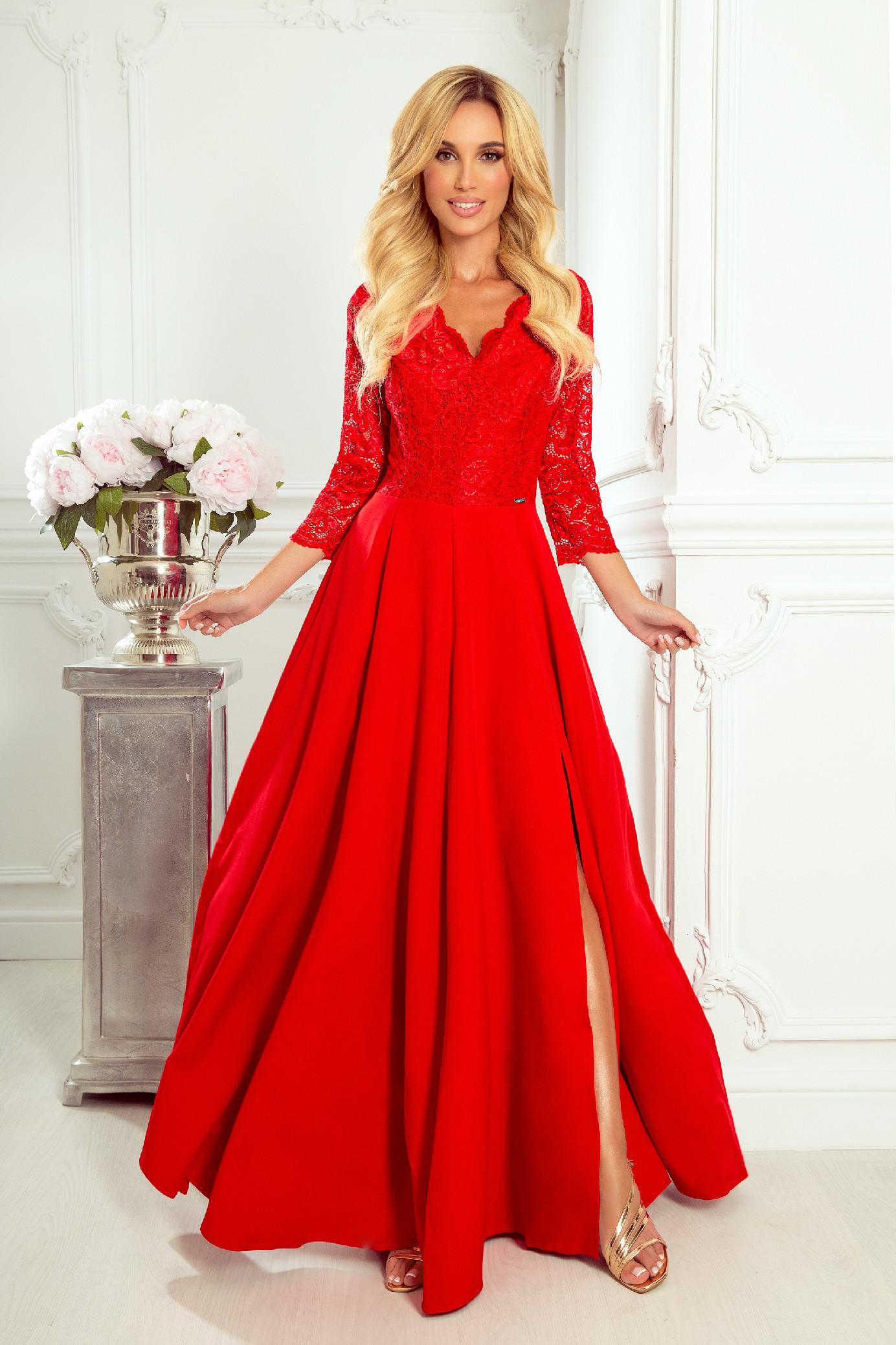 Červené spoločenské šaty s čipkou Veľkosť: S