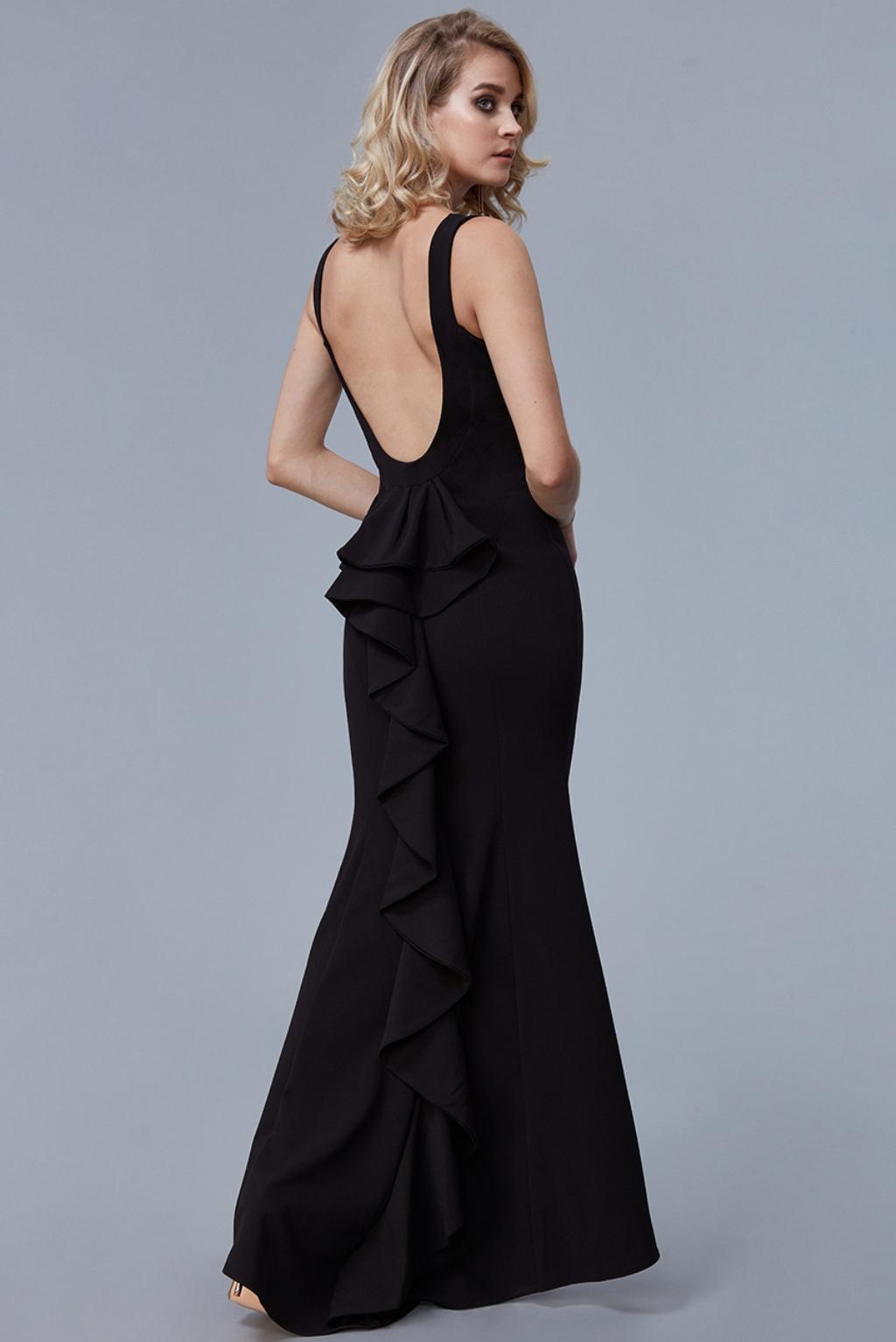Čierne priliehavé šaty s volánmi Veľkosť: XS