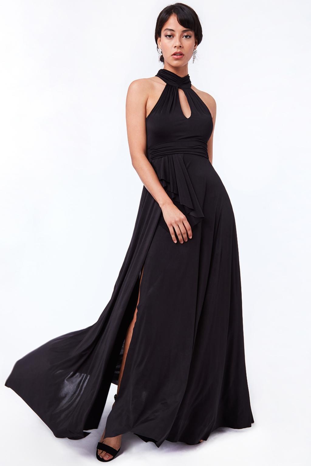 Čierne spoločenské šaty s odhaleným chrbtom Veľkosť: L