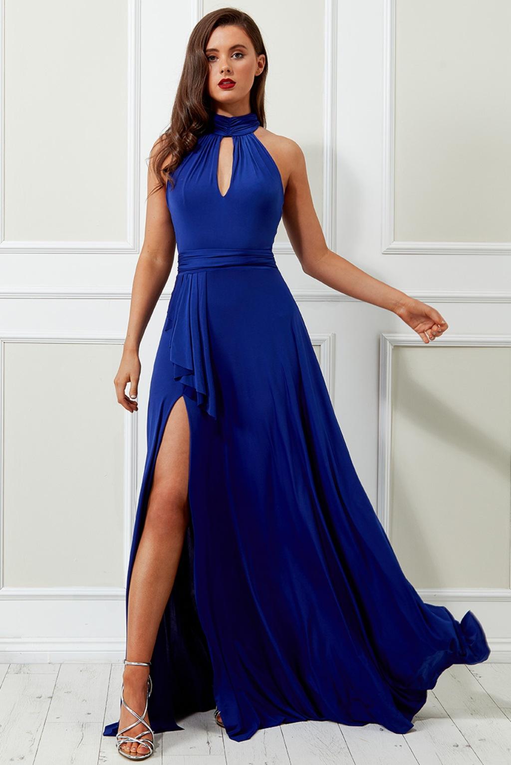 Modré spoločenské šaty s odhaleným chrbtom Veľkosť: S