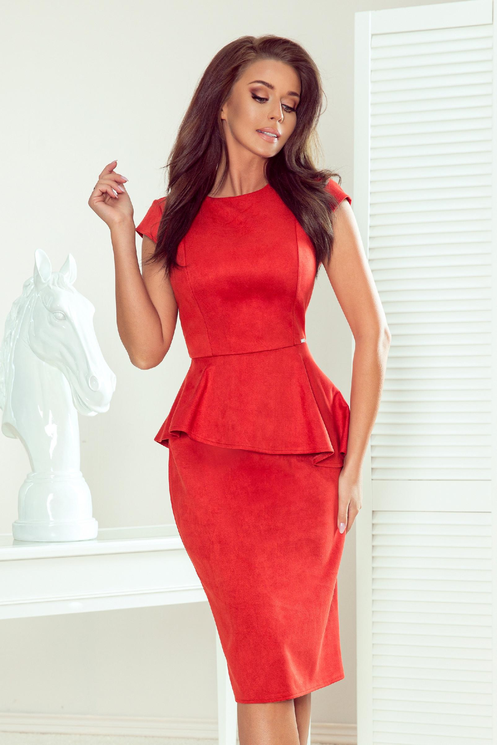 Červené midi šaty s peplum volánom Veľkosť: S
