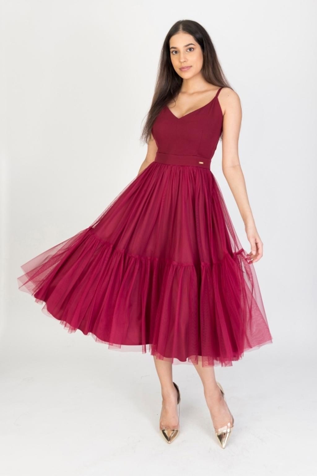 Bordové midi šaty s tylovou sukňou Veľkosť: XS