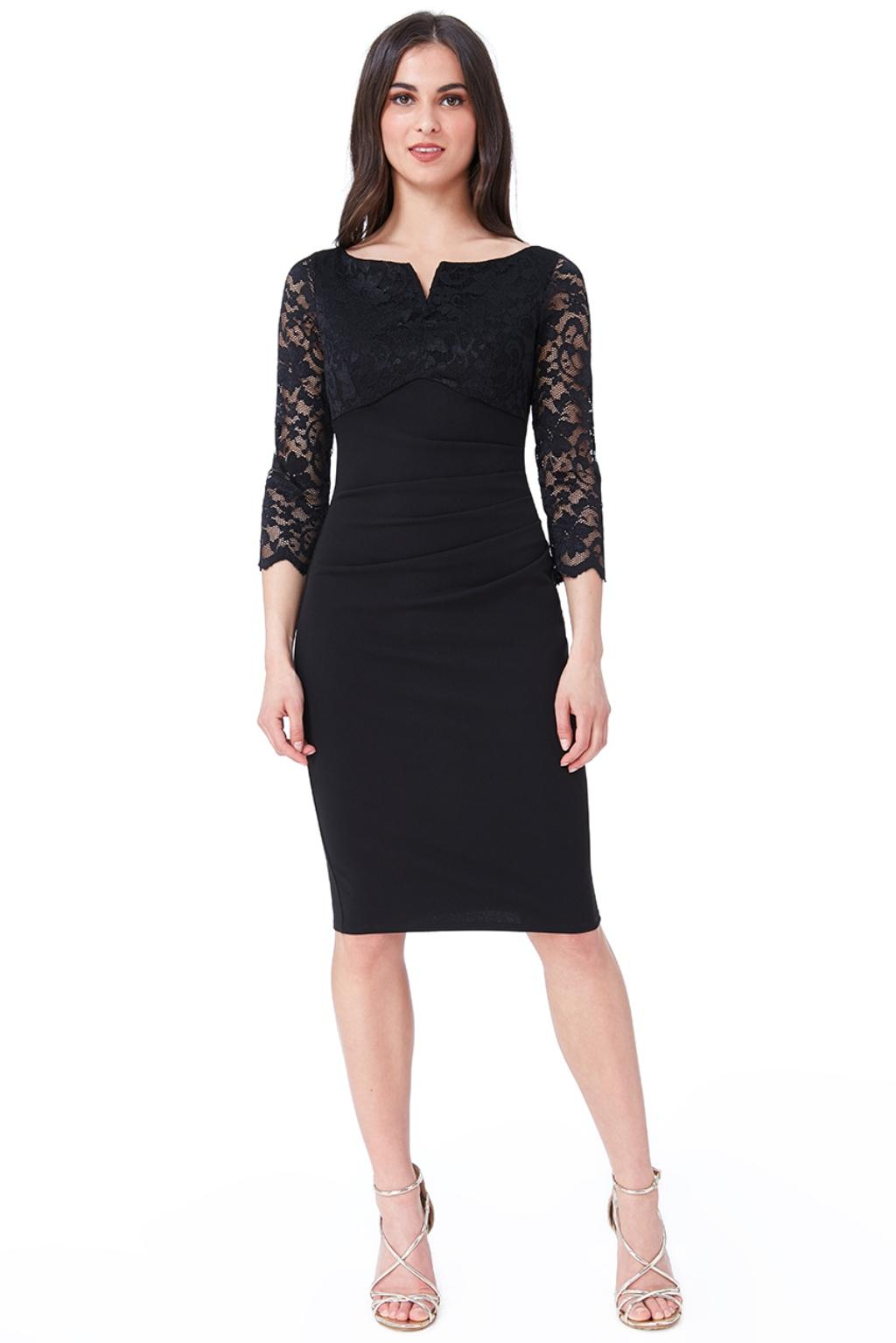 Čierne priliehavé midi šaty s čipkou Veľkosť: L