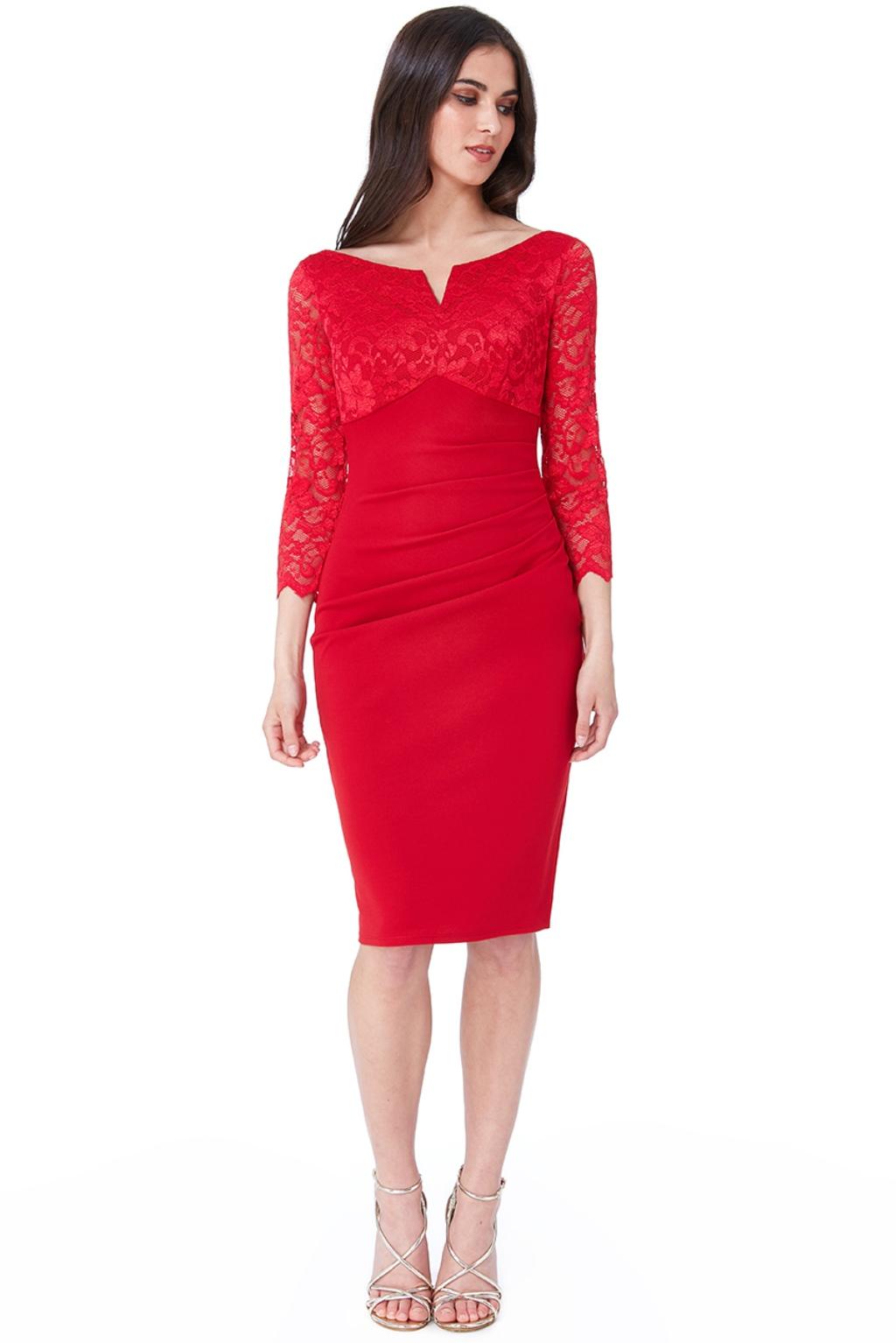 Červené priliehavé midi šaty s čipkou Veľkosť: M