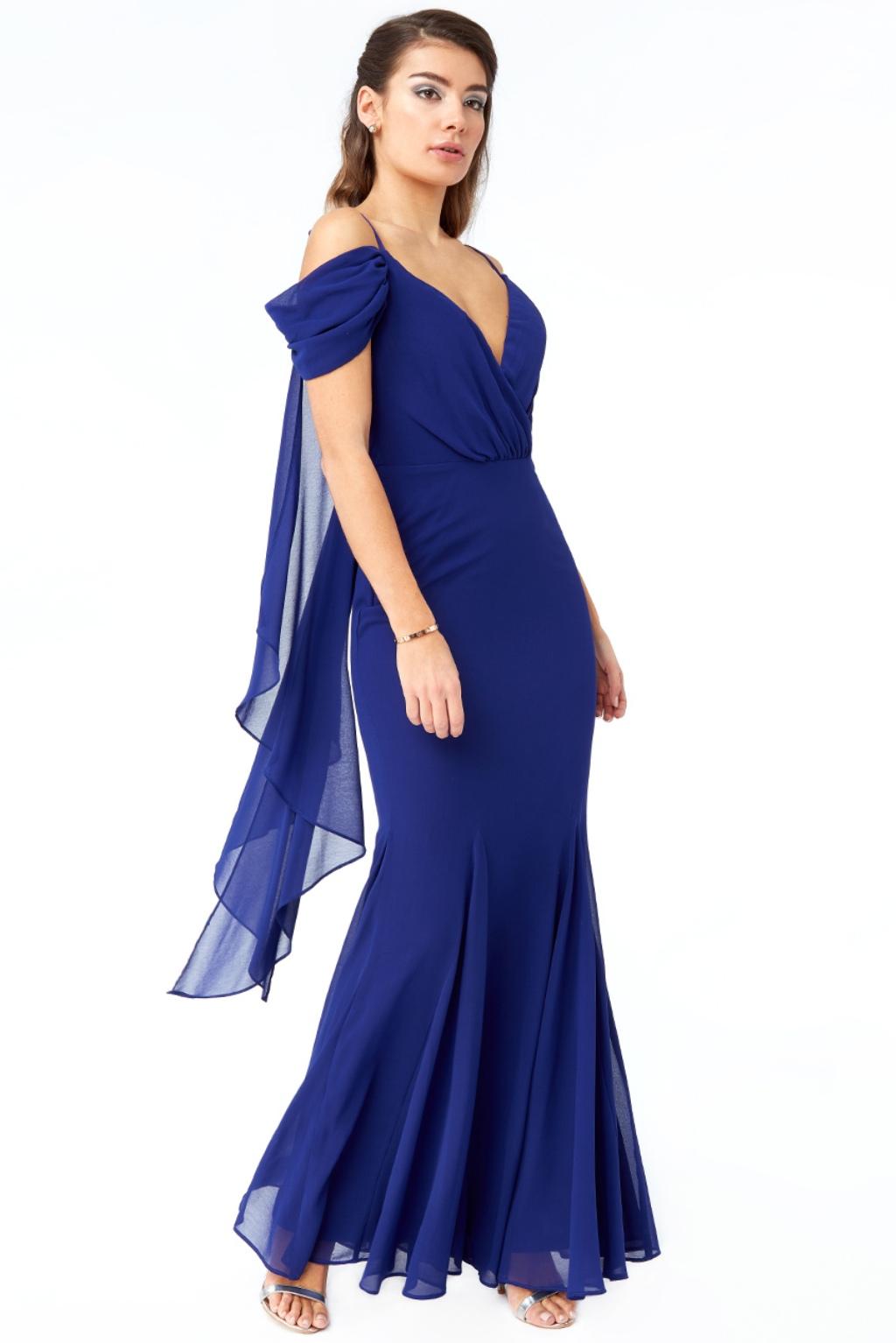 Modré šifónové spoločenské šaty Veľkosť: S
