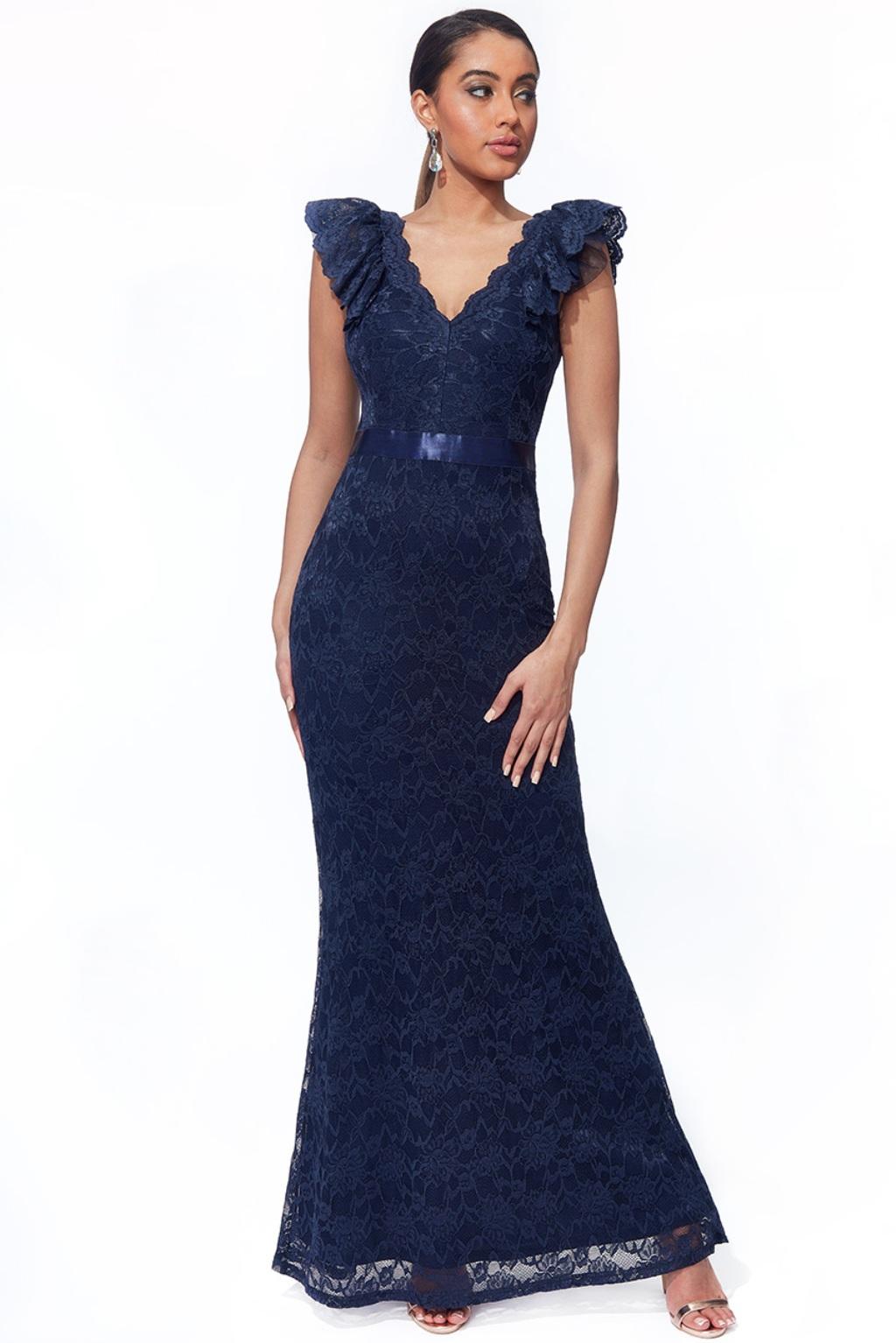 Tmavomodré čipkované priliehavé šaty Veľkosť: M