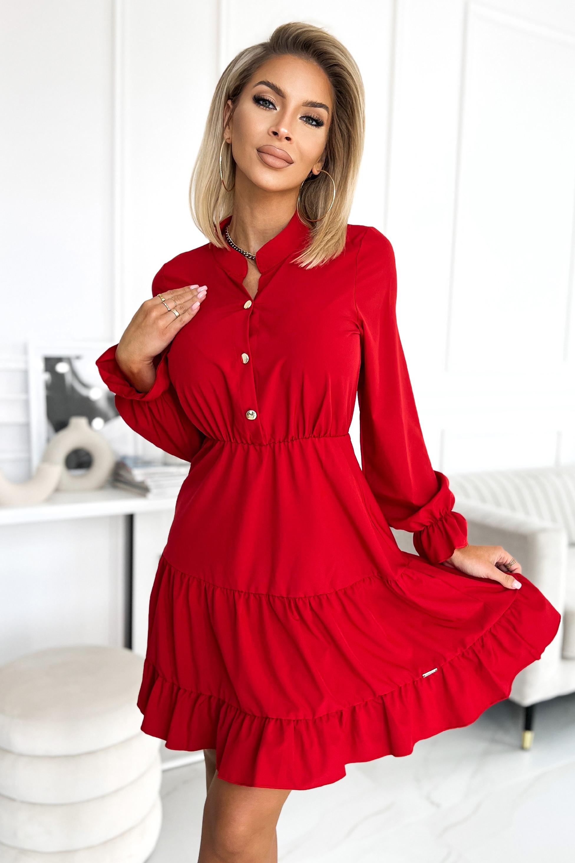 Červené košeľové šaty Veľkosť: L