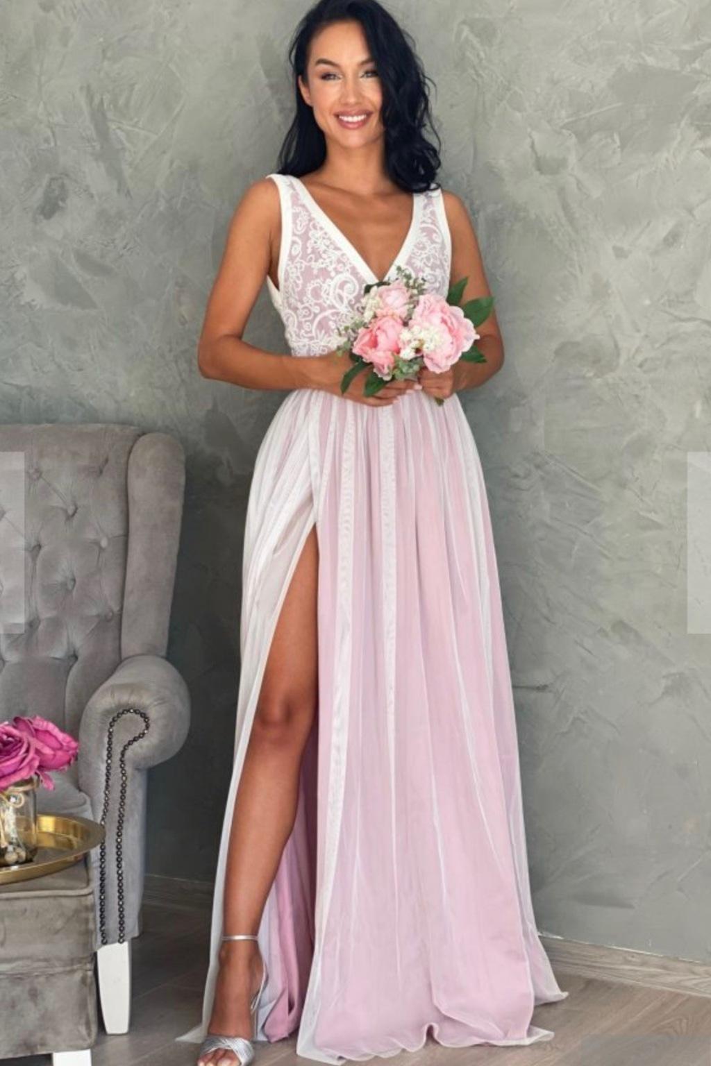 Bielo-ružové spoločenské šaty s krajkou Veľkosť: M