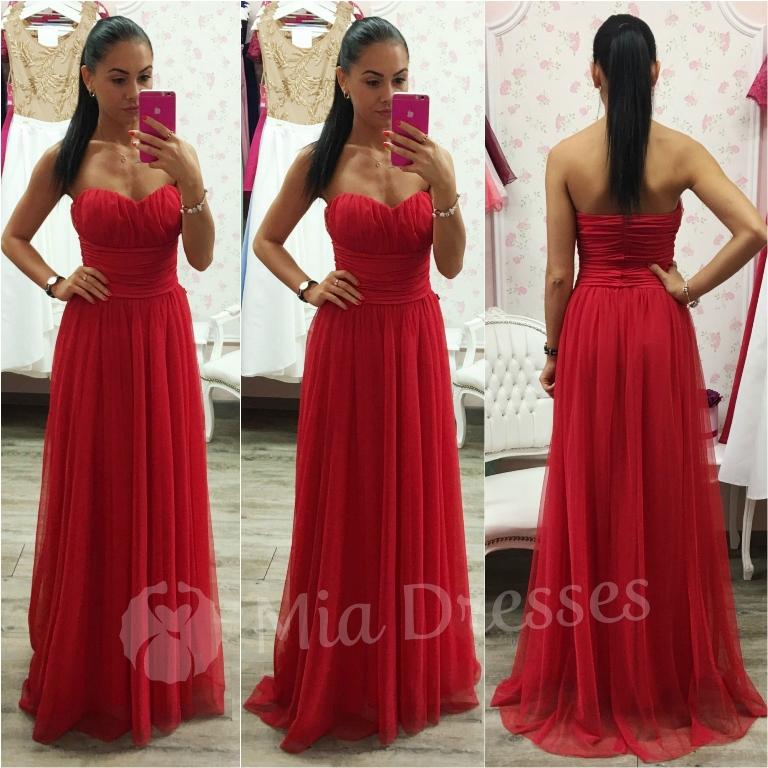 Červené dlhé spoločenské šaty Veľkosť: S