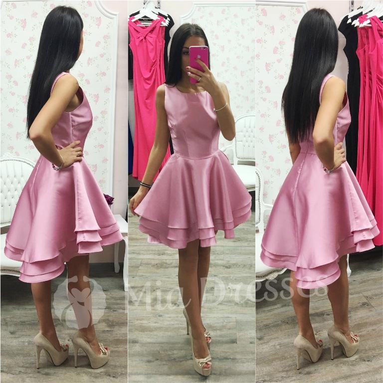 Ružové spoločenské asymetrické šaty Veľkosť: M