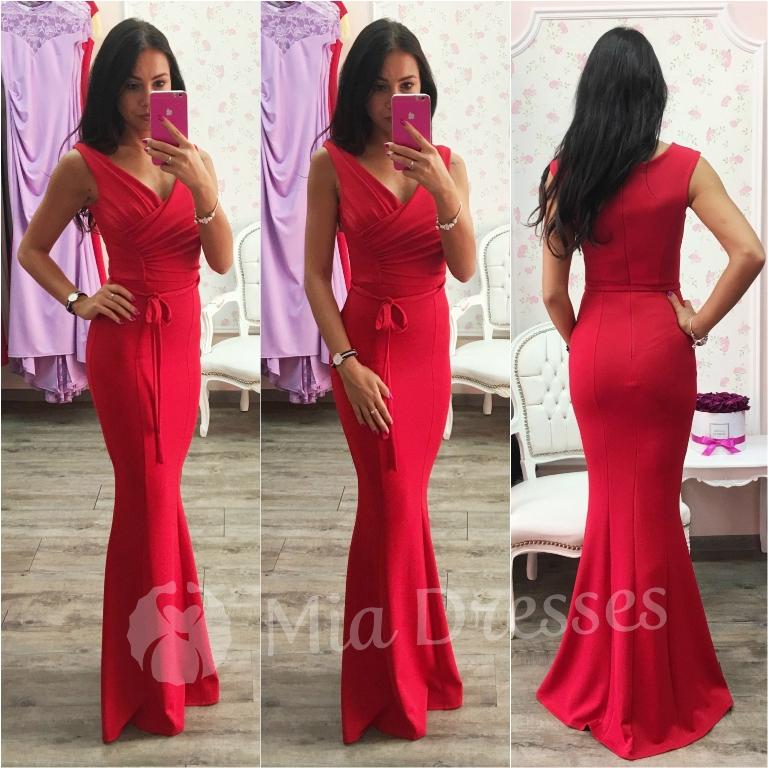 Červené dlhé spoločenské šaty Veľkosť: L