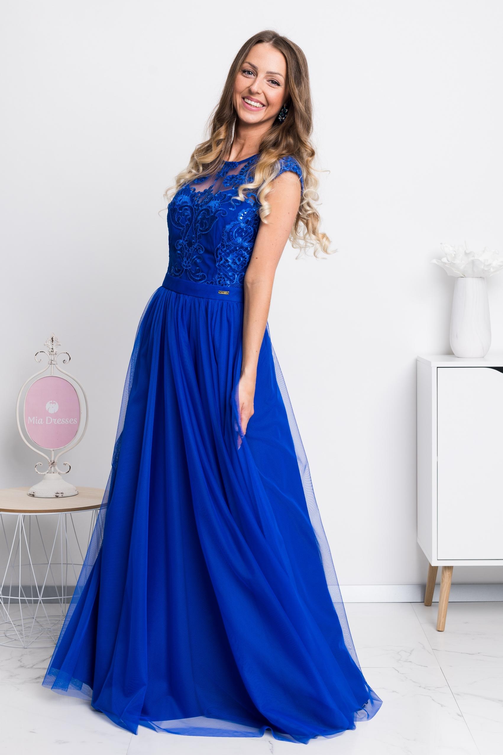 Modré dlhé spoločenské šaty Veľkosť: S