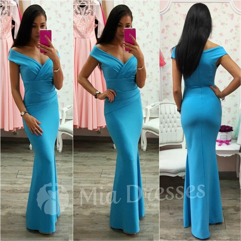 Tyrkysové spoločenské priliehavé šaty Veľkosť: XL