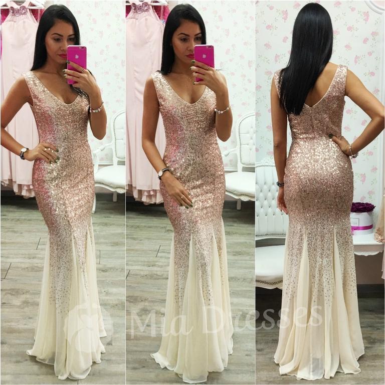 Smotanové spoločenské šaty s flitrami Veľkosť: M