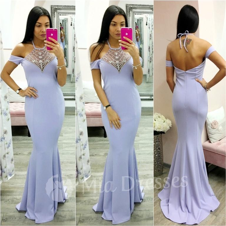 Fialové spoločenské šaty s kamienkami Veľkosť: S