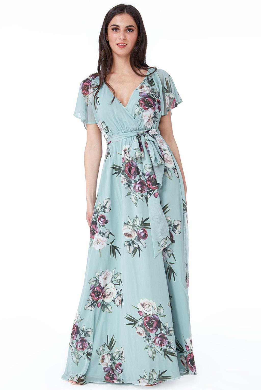 Dlhé šifónové šaty s kvetinami Veľkosť: XL