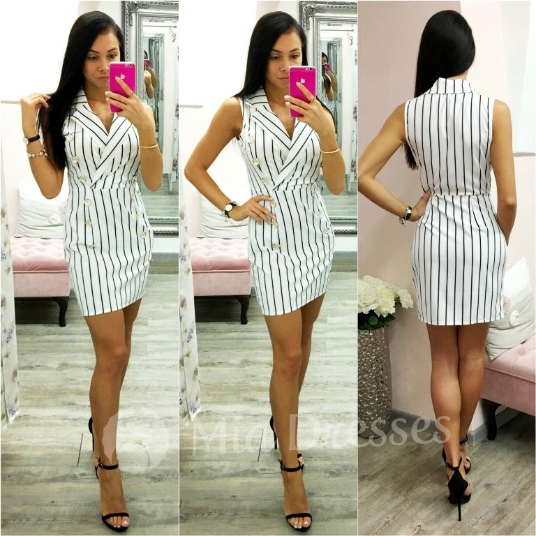 Bielo-čierne pásikavé mini šaty s gombíkmi Veľkosť: XL
