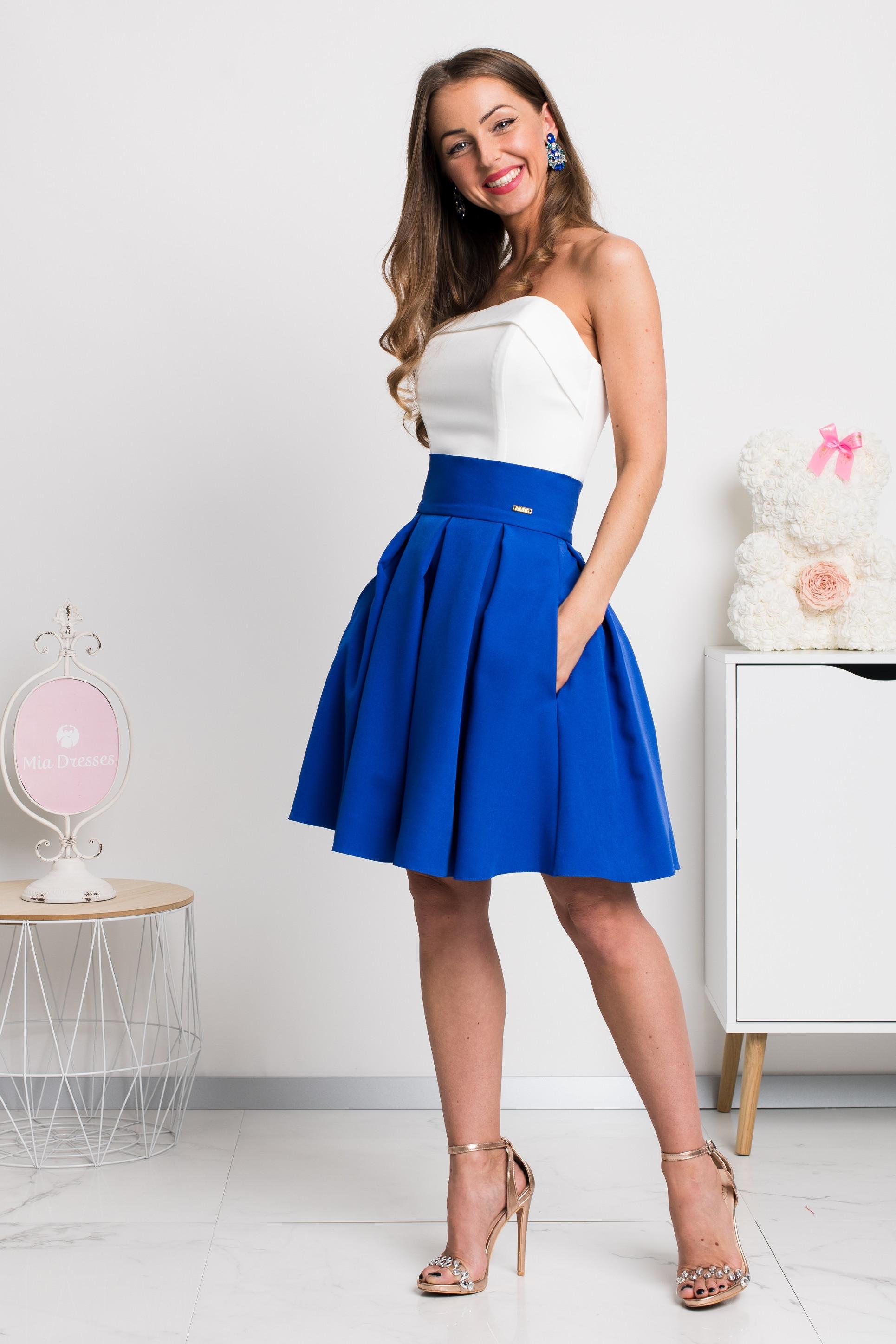 Modrá áčková mini sukňa Veľkosť: XS