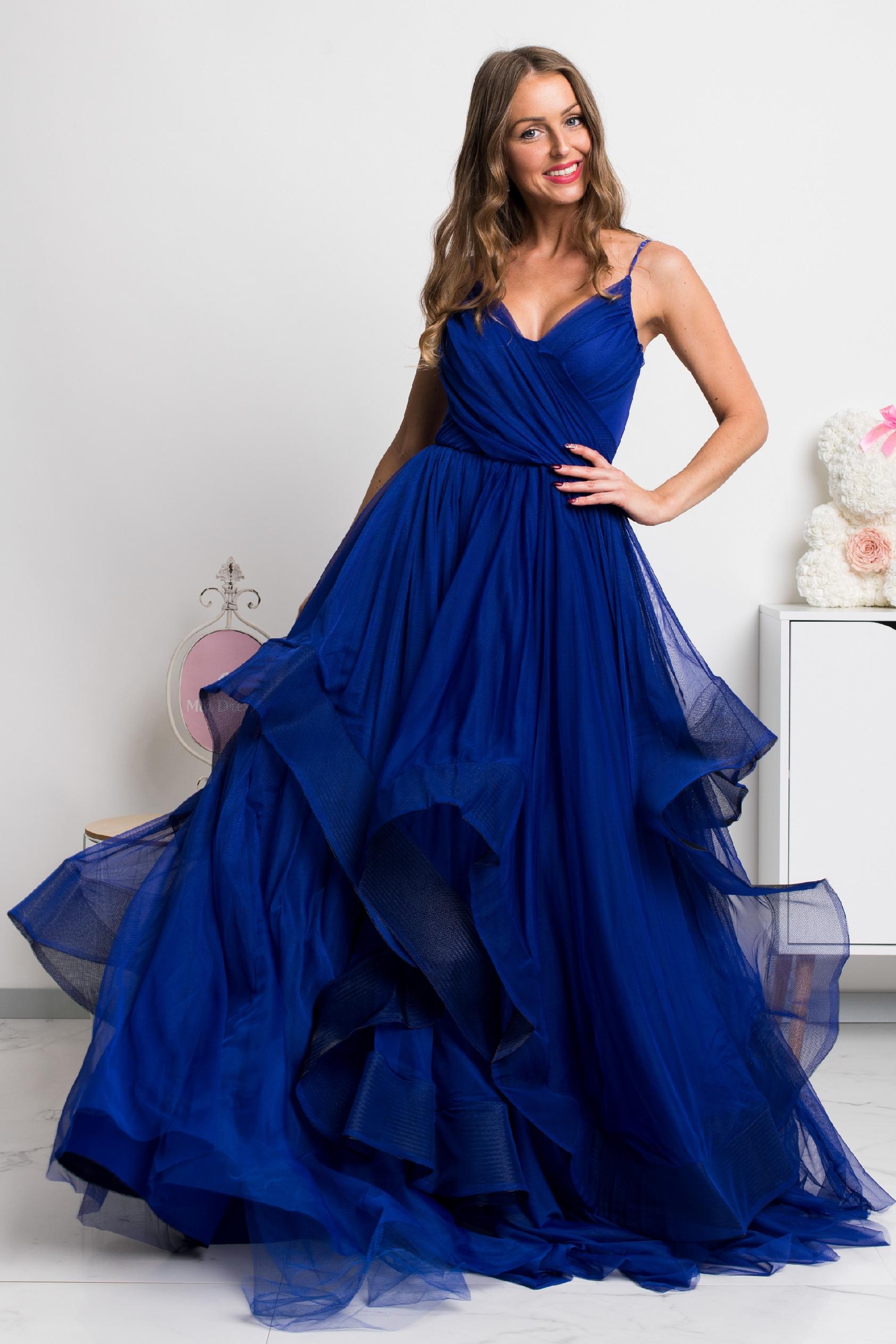 Modré spoločenské šaty s tylovou sukňou Veľkosť: S