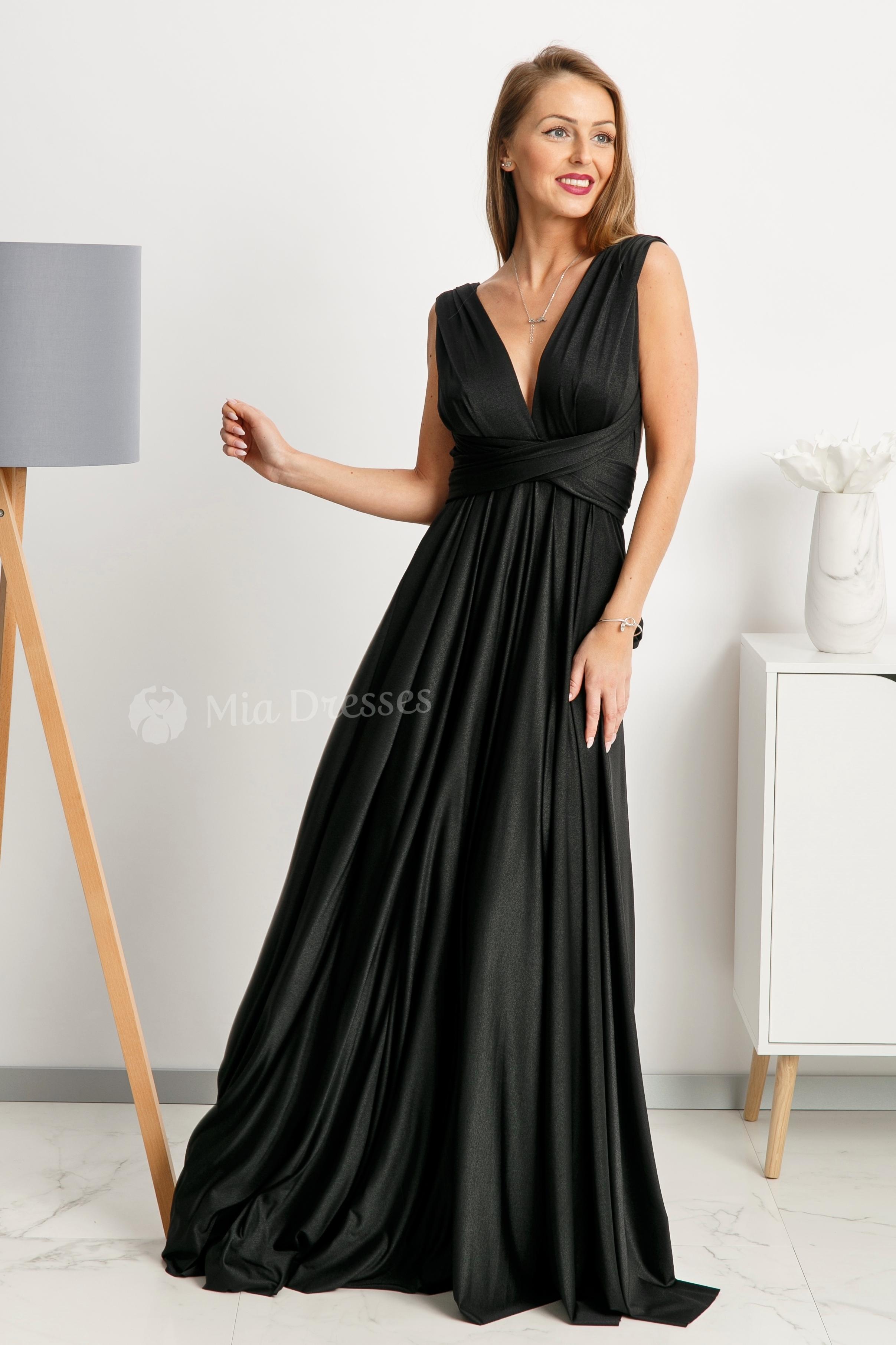 Čierne spoločenské šaty s viazaním Veľkosť: M