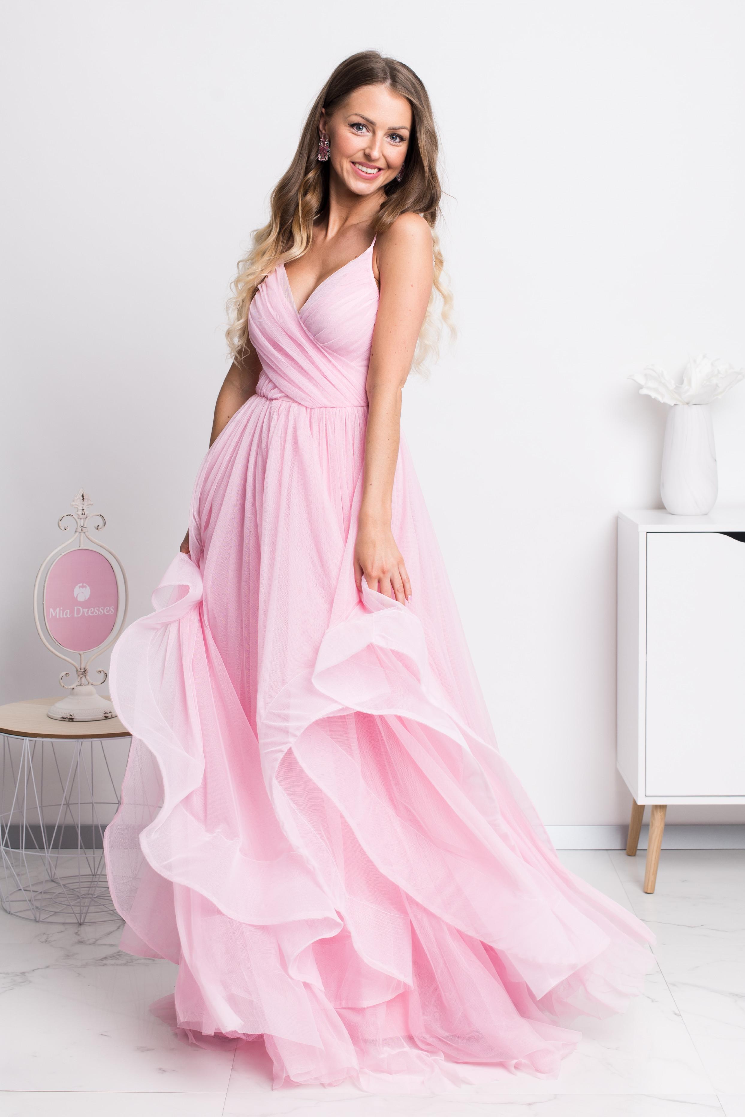 Ružové spoločenské šaty s tylovou sukňou Veľkosť: M