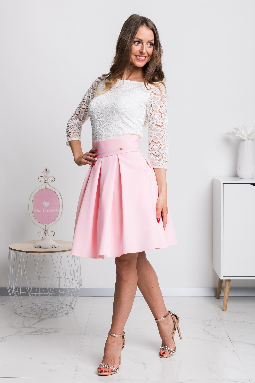 Svetloružová áčková mini sukňa Veľkosť: XS