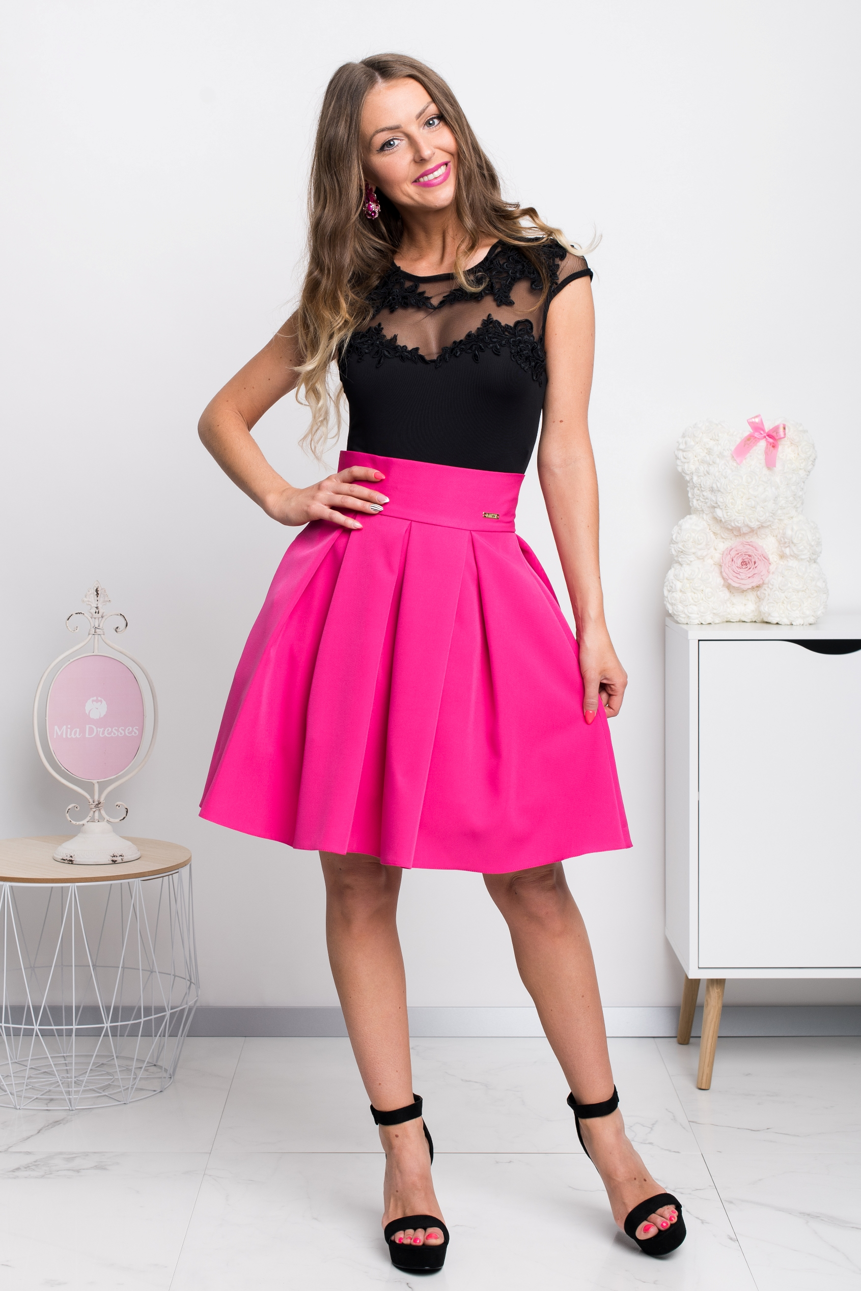 Cyklaménová áčková mini sukňa Veľkosť: XS