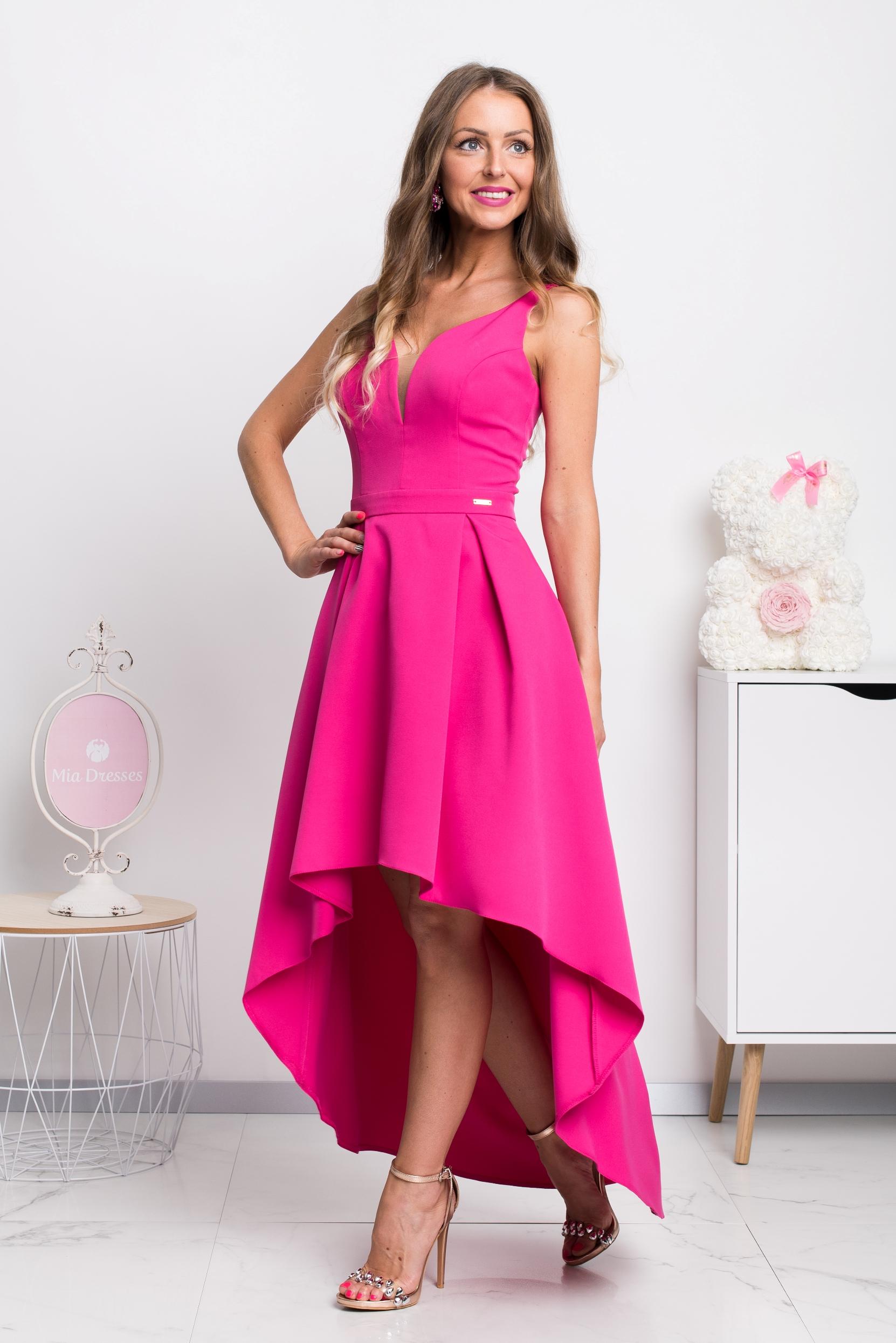 Cyklaménové asymetrické šaty Veľkosť: XS