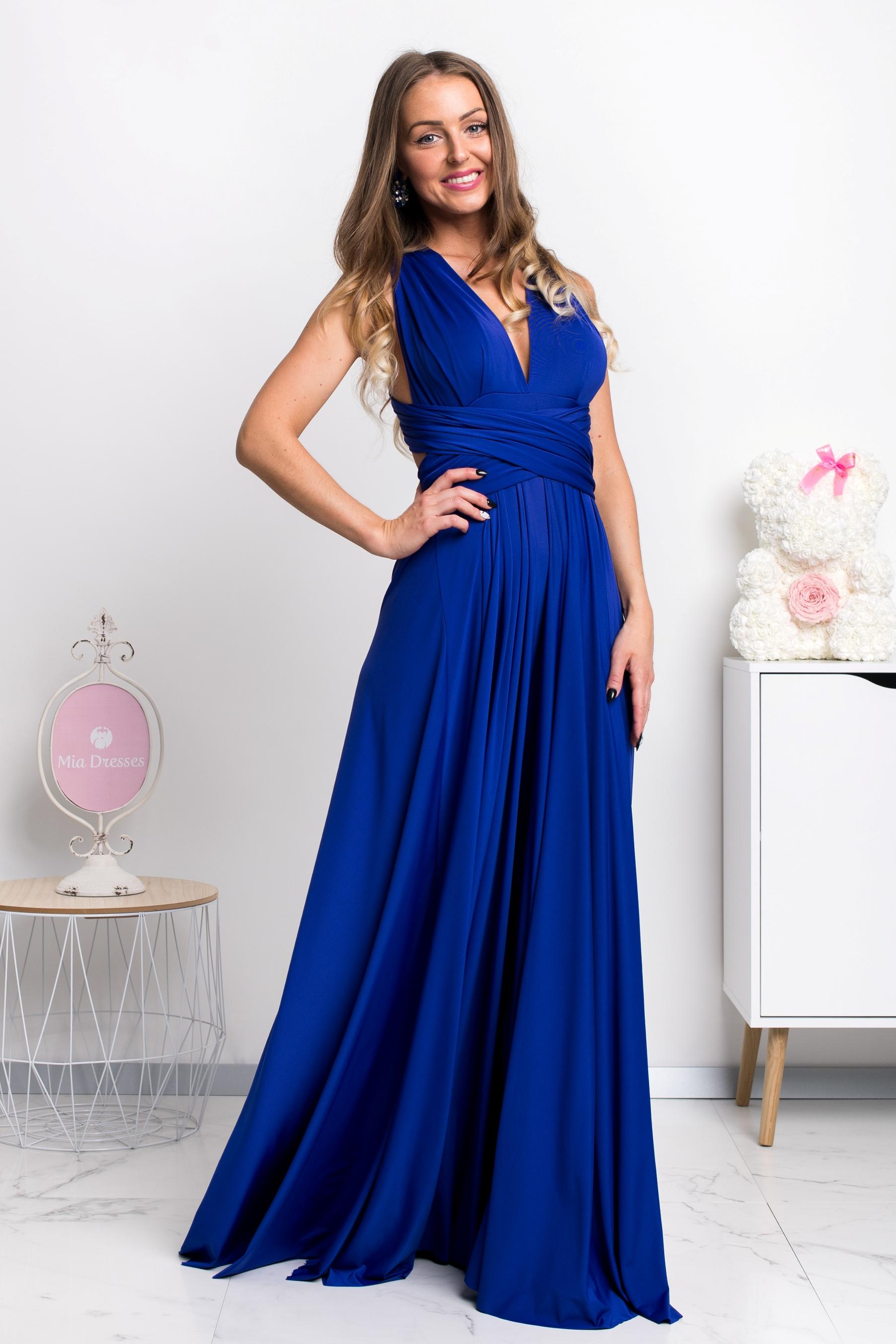 Modré spoločenské šaty s viazaním Veľkosť: M