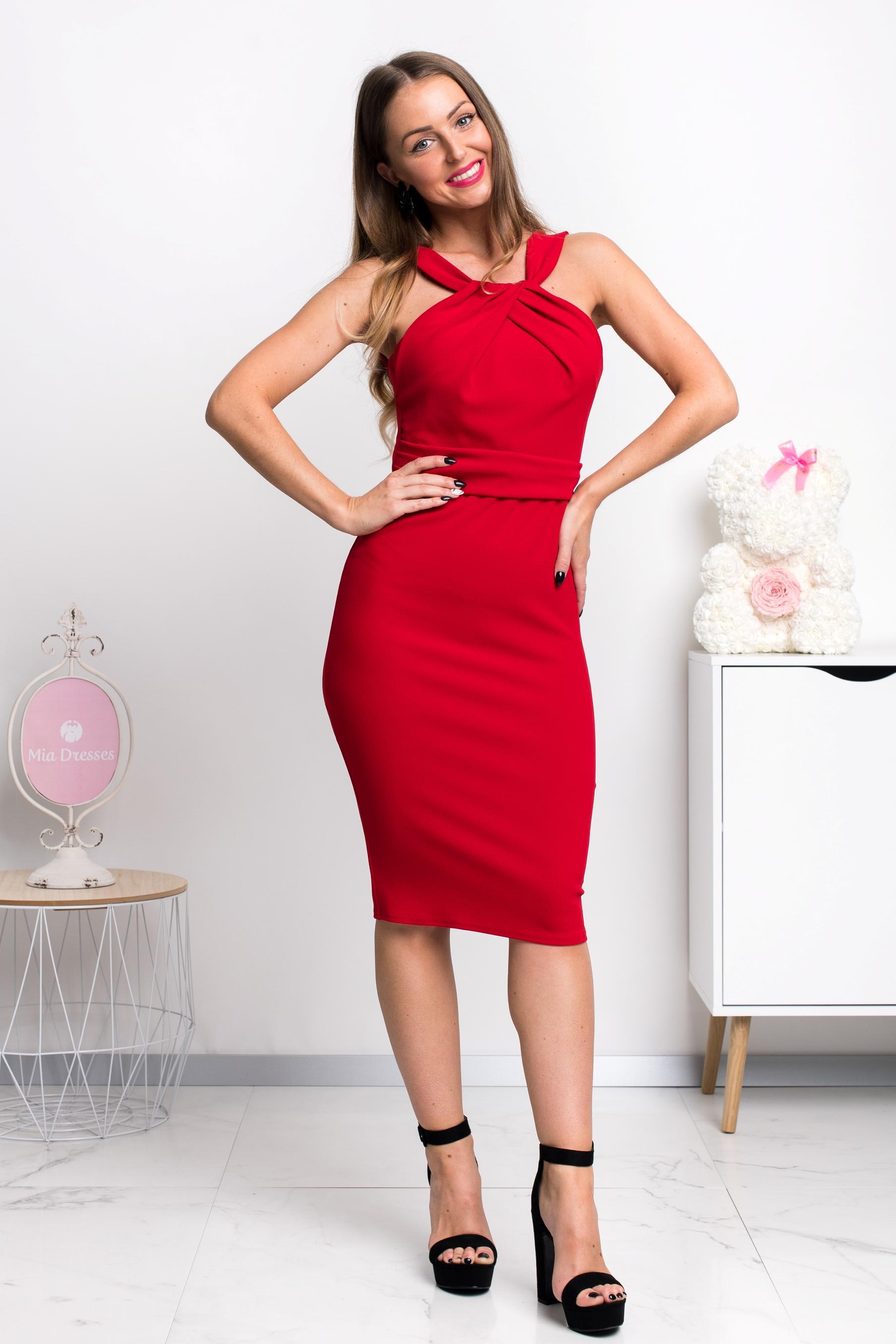Červené midi šaty Veľkosť: L
