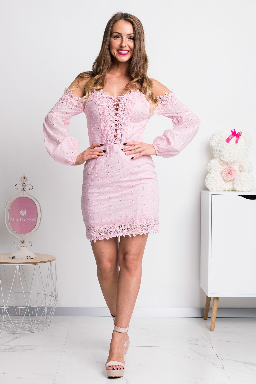 Ružové mini šaty s rukávmi Veľkosť: XS