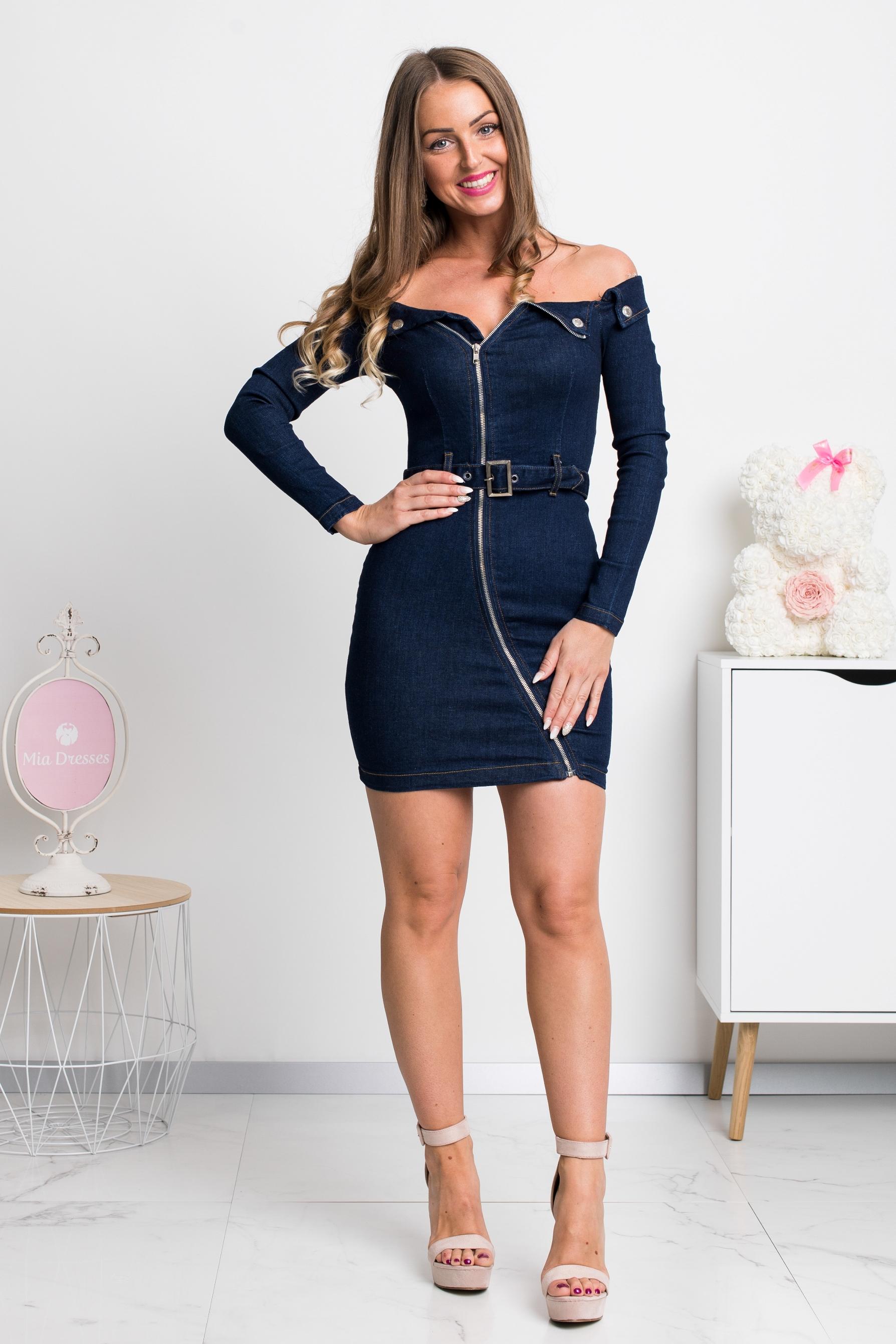 Denimové tmavomodré mini šaty Veľkosť: XS