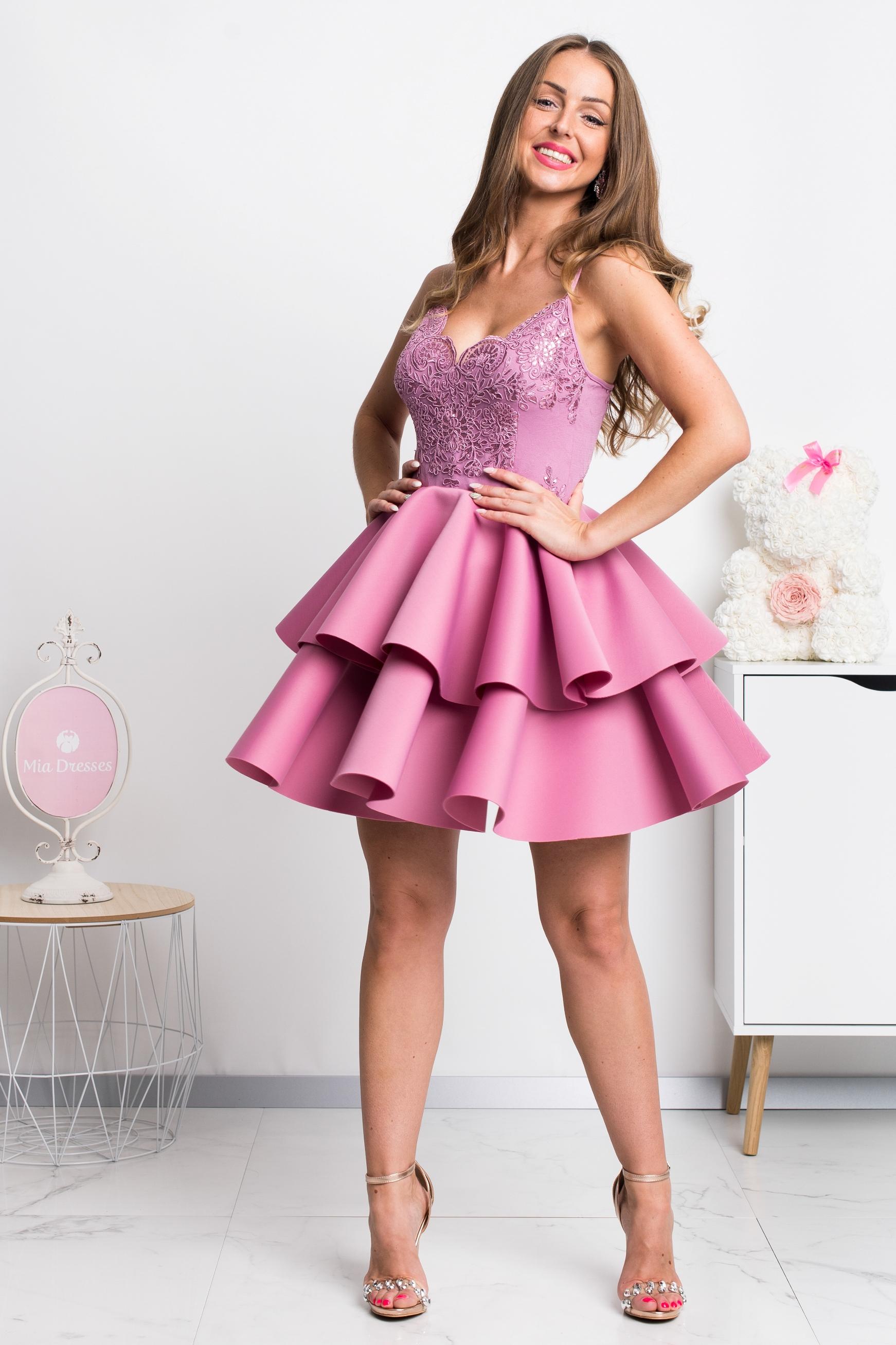 Ružové spoločenské mini šaty na ramienka Veľkosť: M