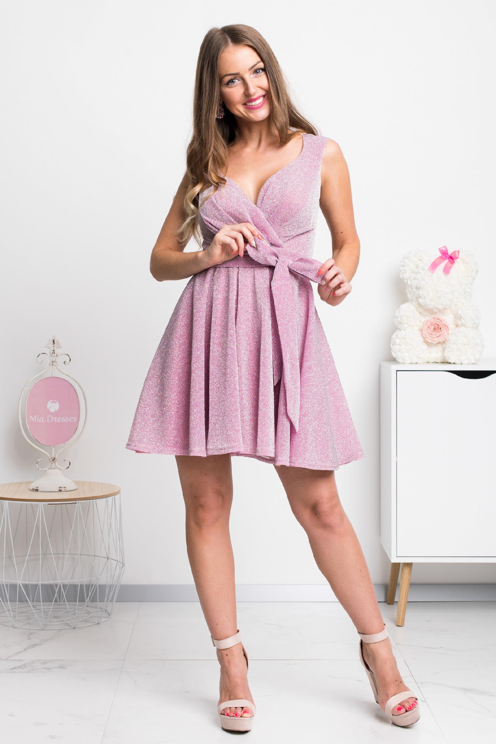 Ružové trblietavé mini šaty Veľkosť: L