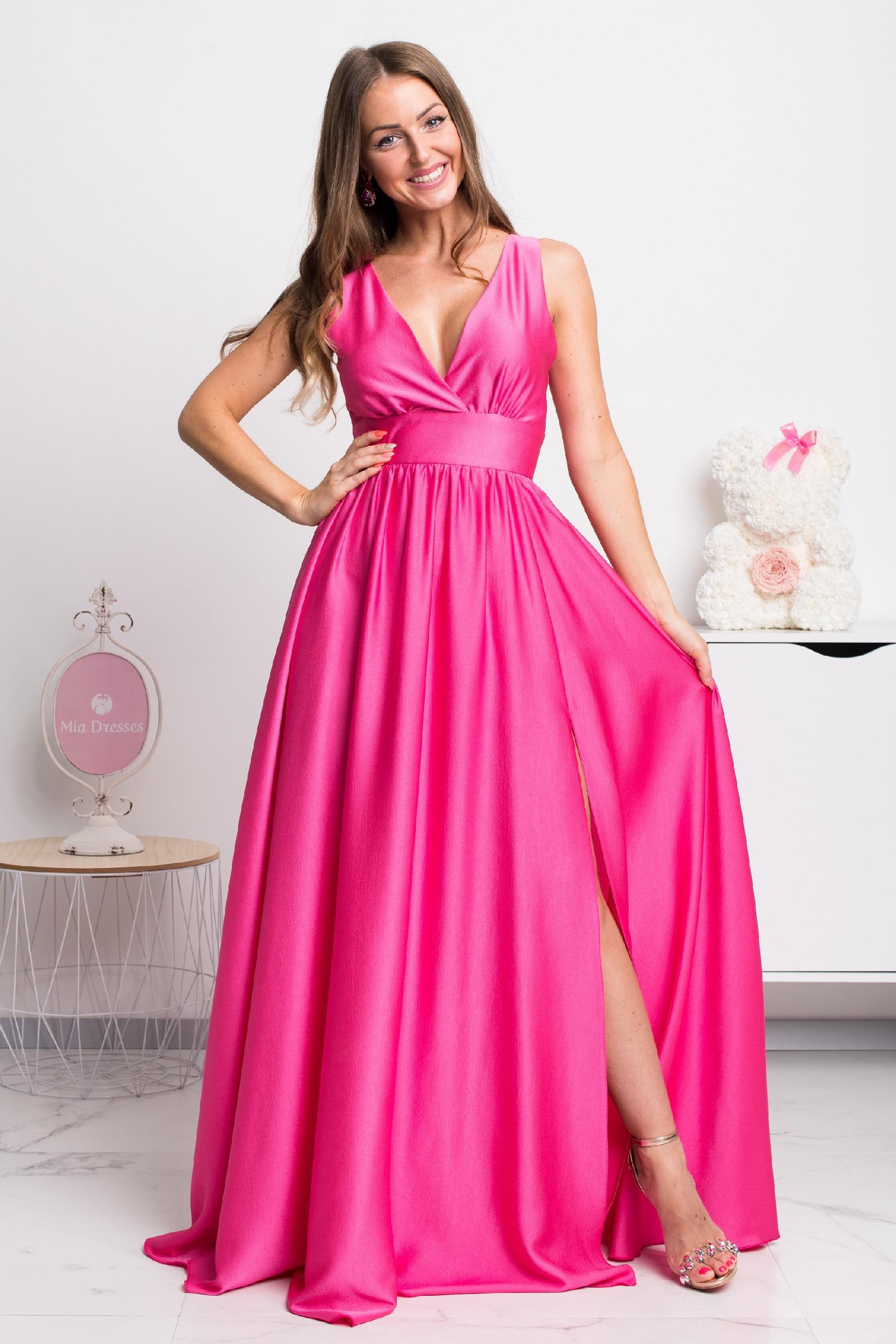 Ružové dlhé spoločenské šaty Veľkosť: L