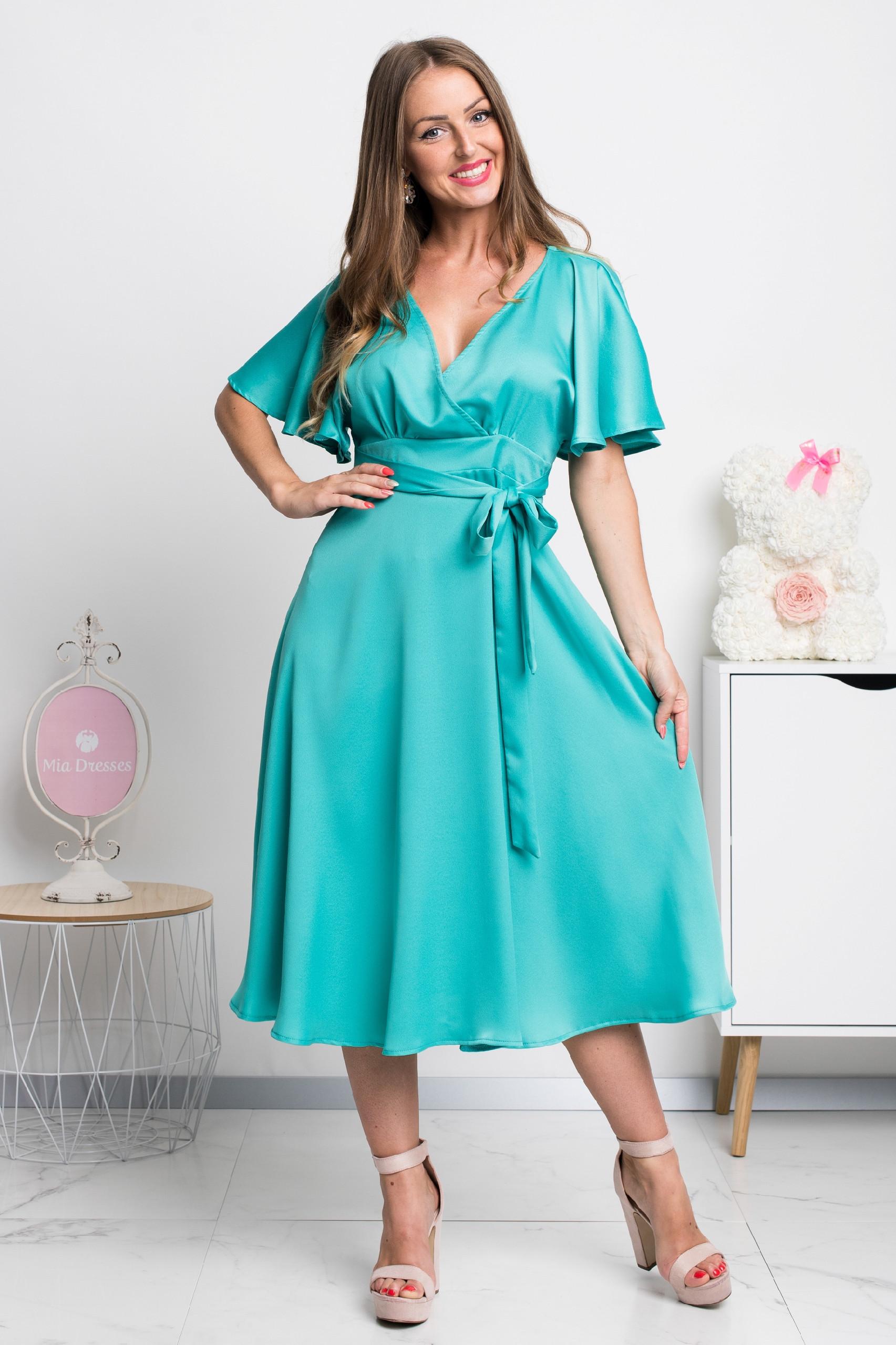 Zelené spoločenské midi šaty Veľkosť: S