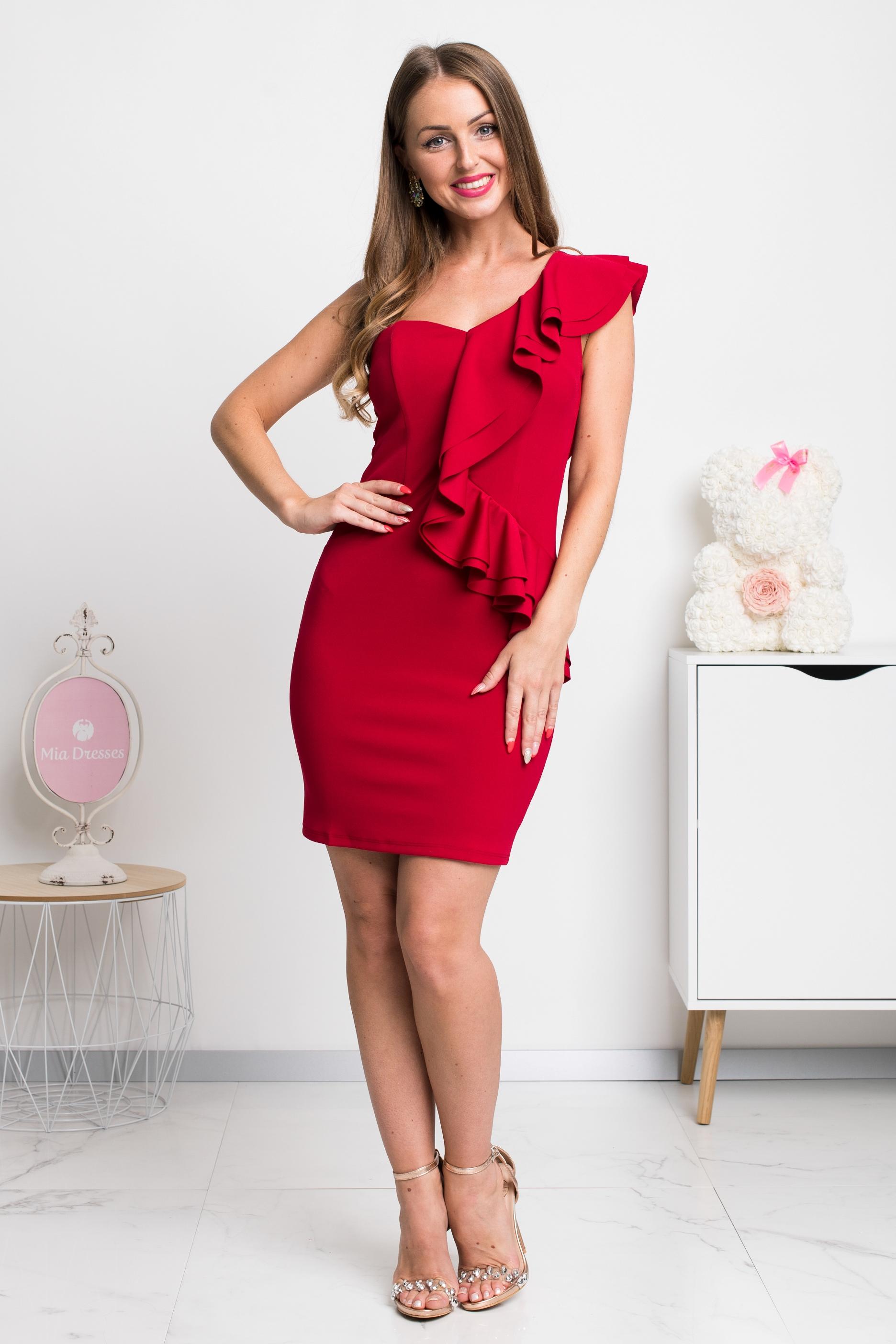 Červené mini šaty s volánikmi Veľkosť: M