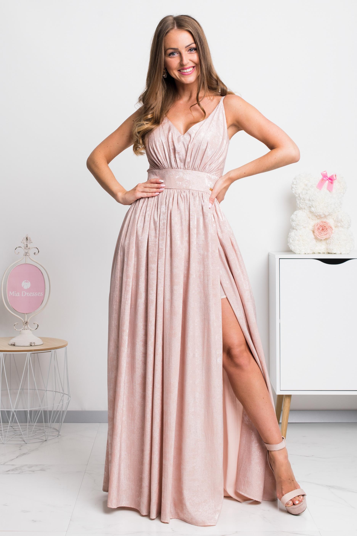 Zlaté lesklé spoločenské šaty Veľkosť: XS