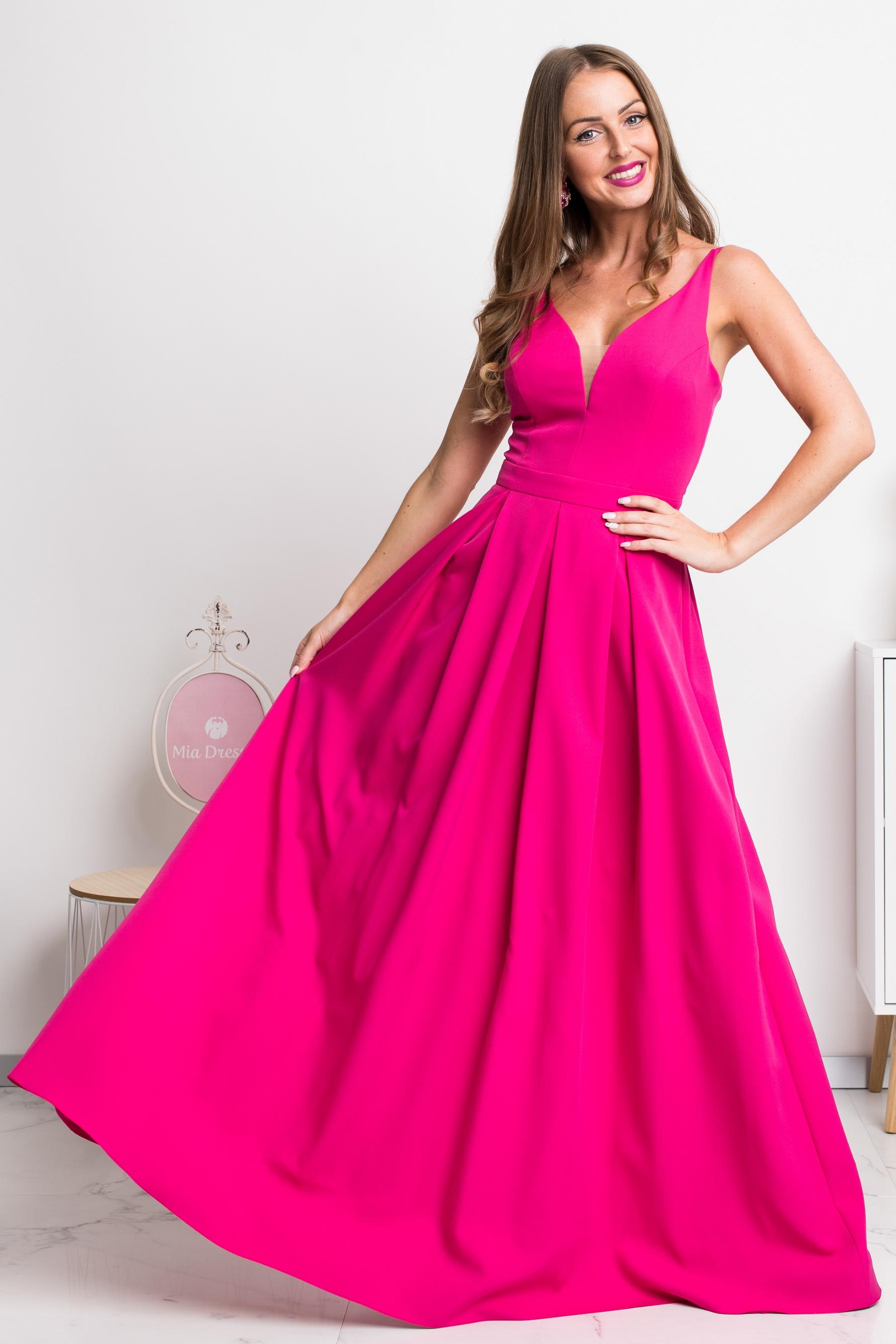 Cyklaménové dlhé spoločenské šaty Veľkosť: XS