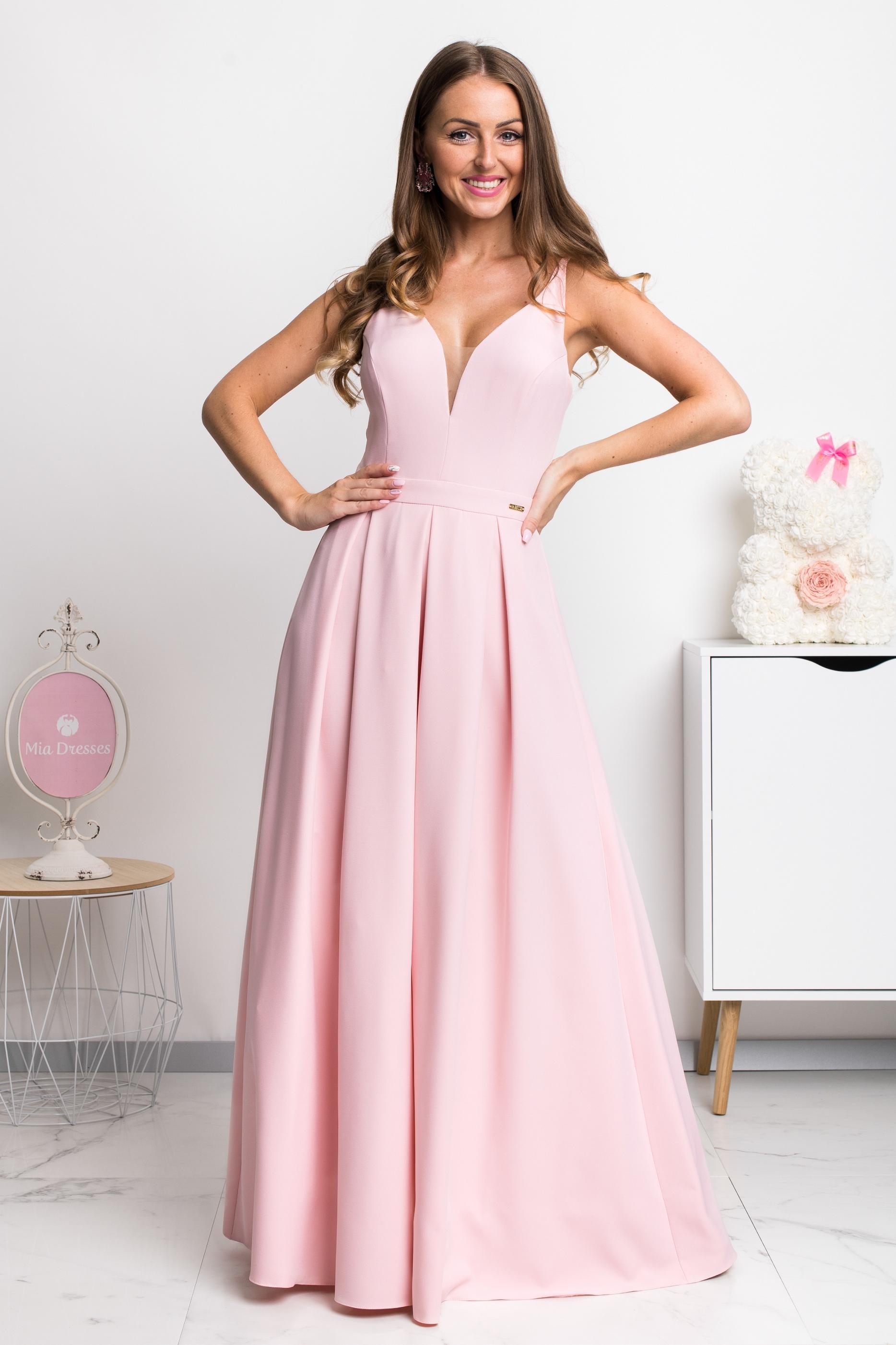 Svetloružové dlhé spoločenské šaty Veľkosť: XS