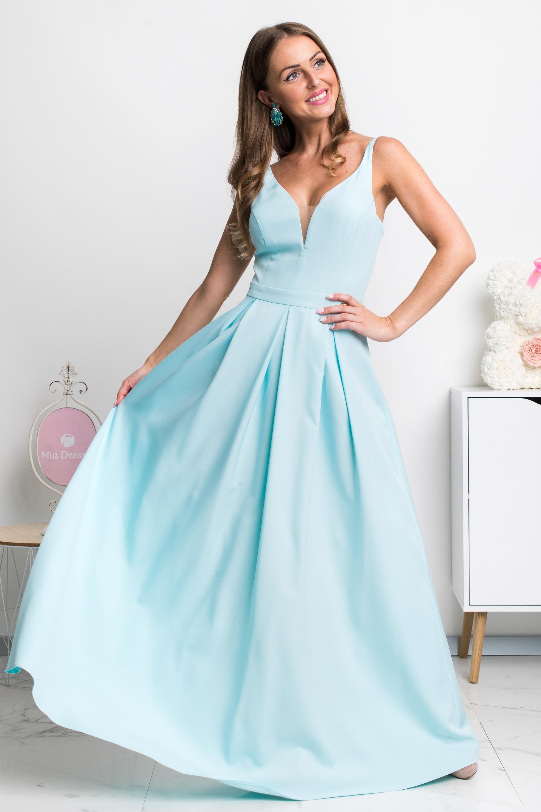 Svetlomodré dlhé spoločenské šaty Veľkosť: XS