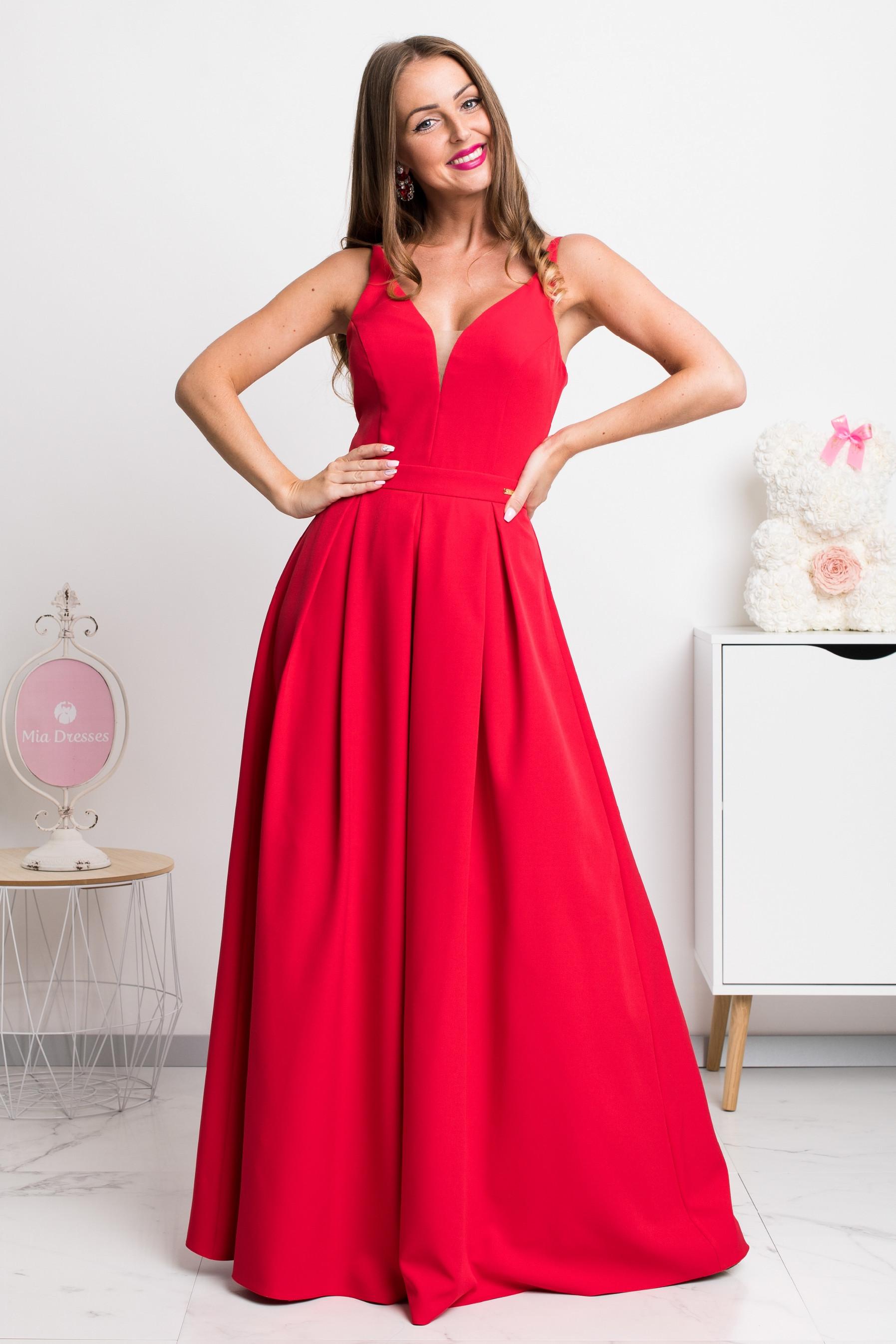 Červené dlhé spoločenské šaty Veľkosť: XS