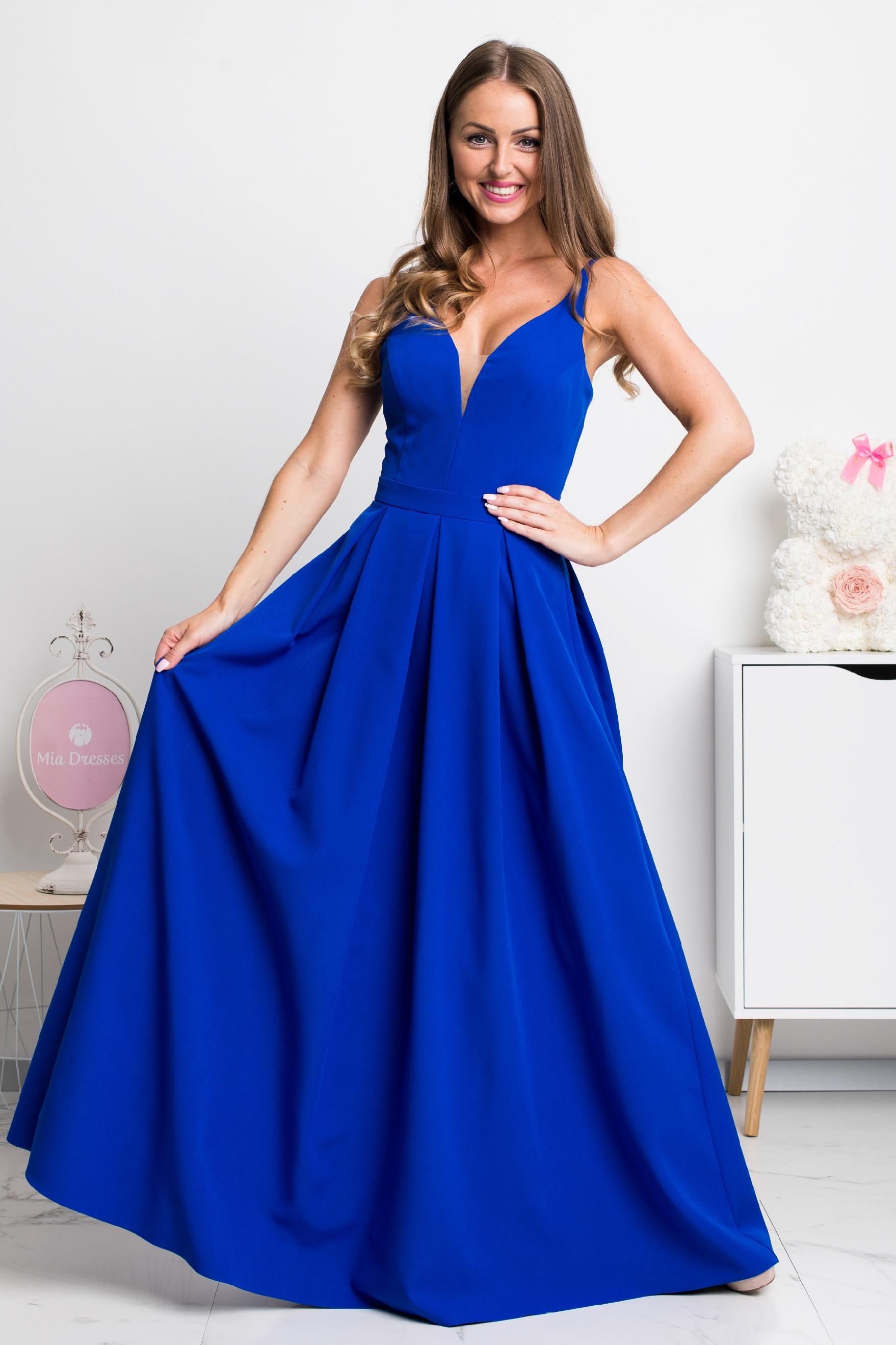 Modré dlhé spoločenské šaty Veľkosť: M