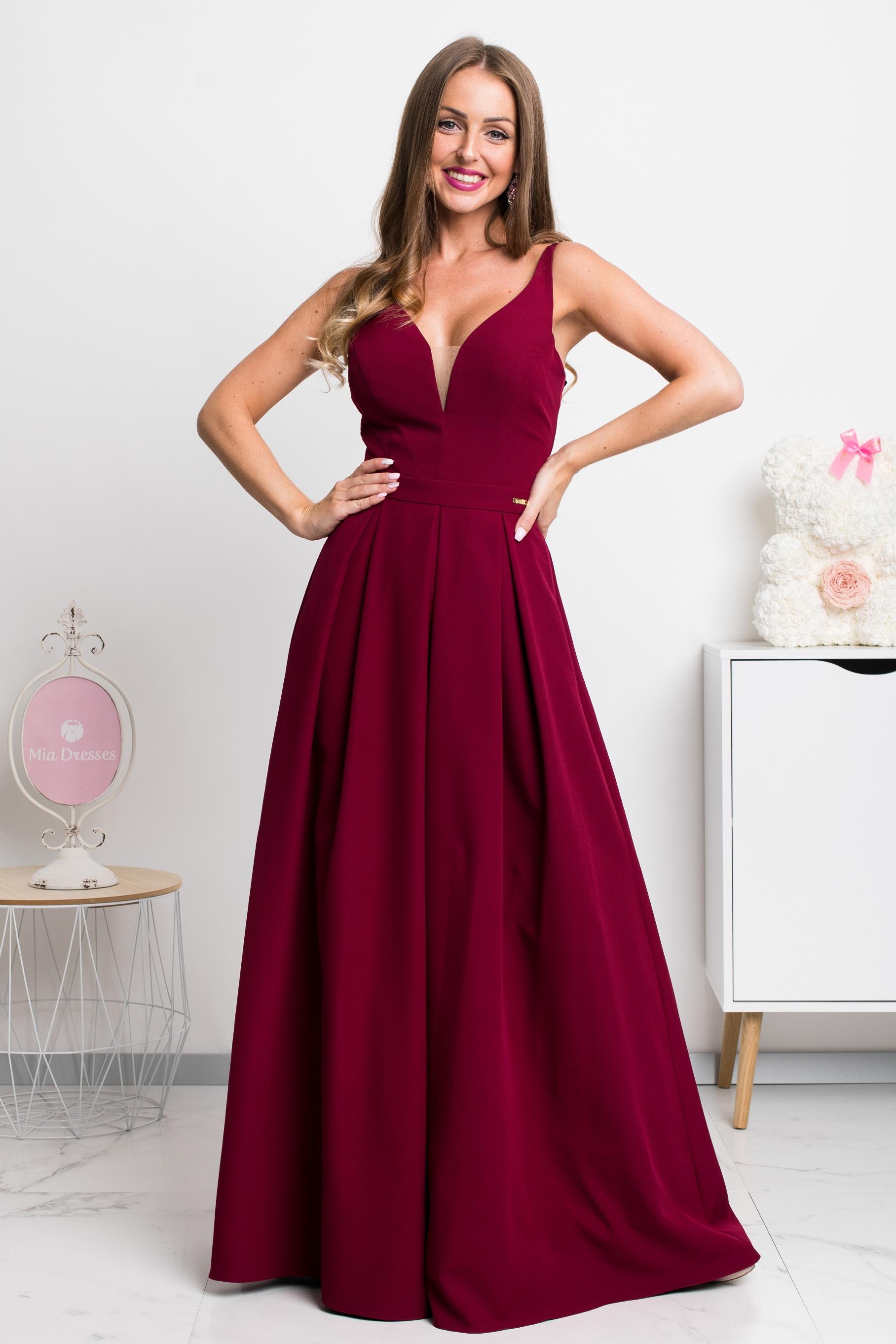 Bordové dlhé spoločenské šaty Veľkosť: XS