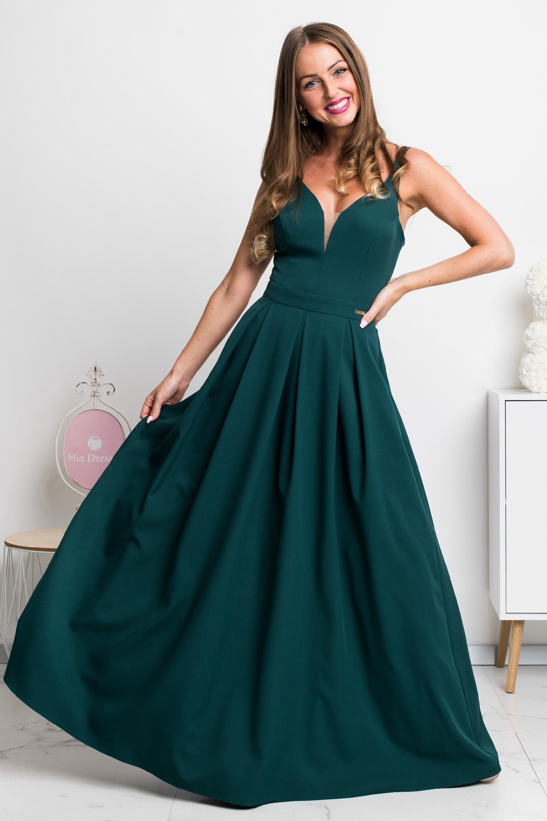 Smaragdové dlhé spoločenské šaty Veľkosť: XS