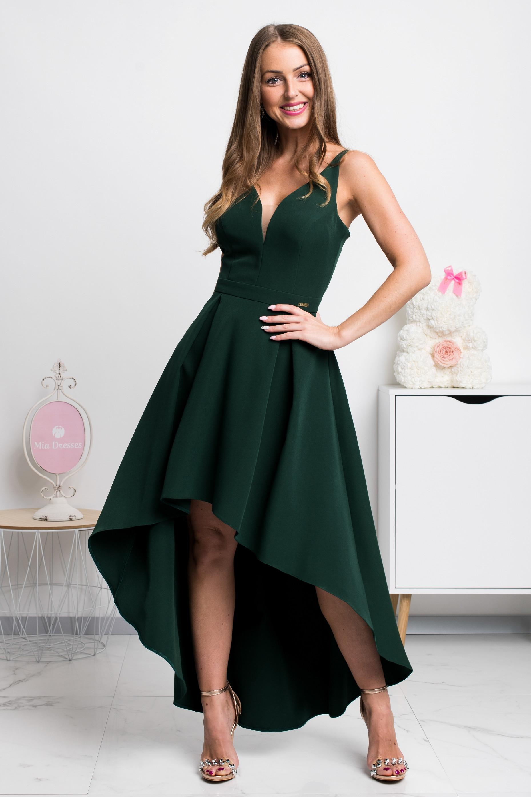 Smaragdové asymetrické šaty Veľkosť: XS