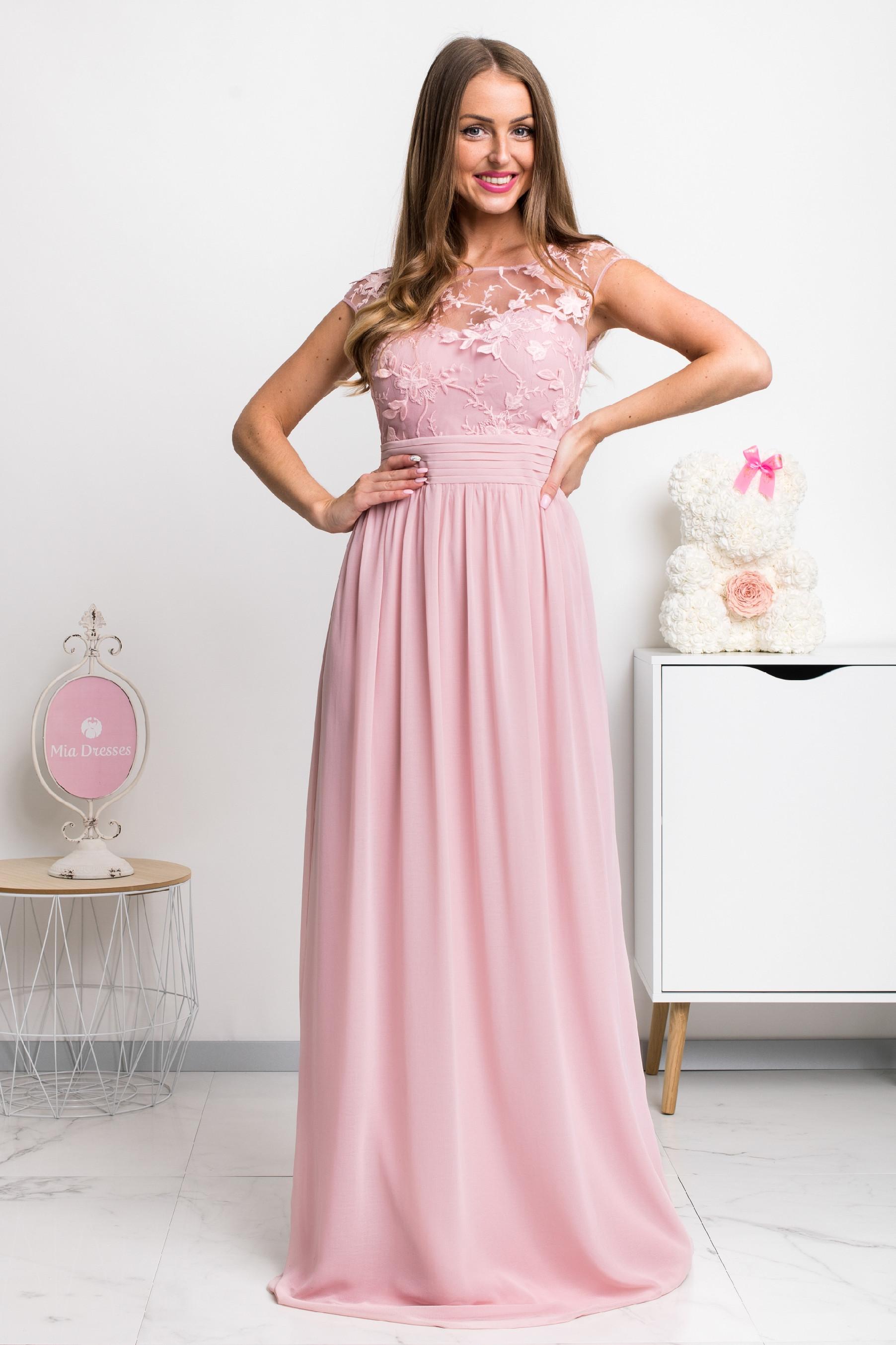 Ružové šifónové spoločenské šaty Veľkosť: S